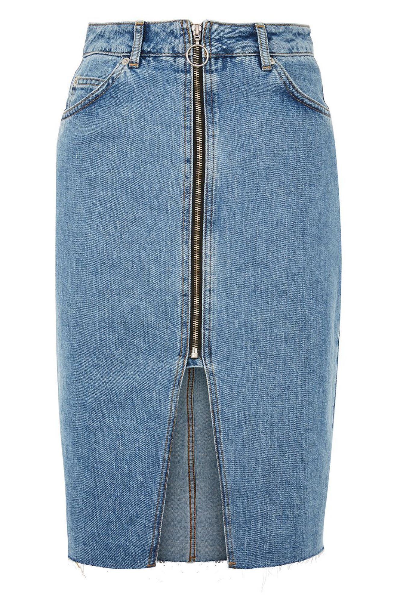 Alternate Image 1 Selected - Topshop Zip Denim Skirt