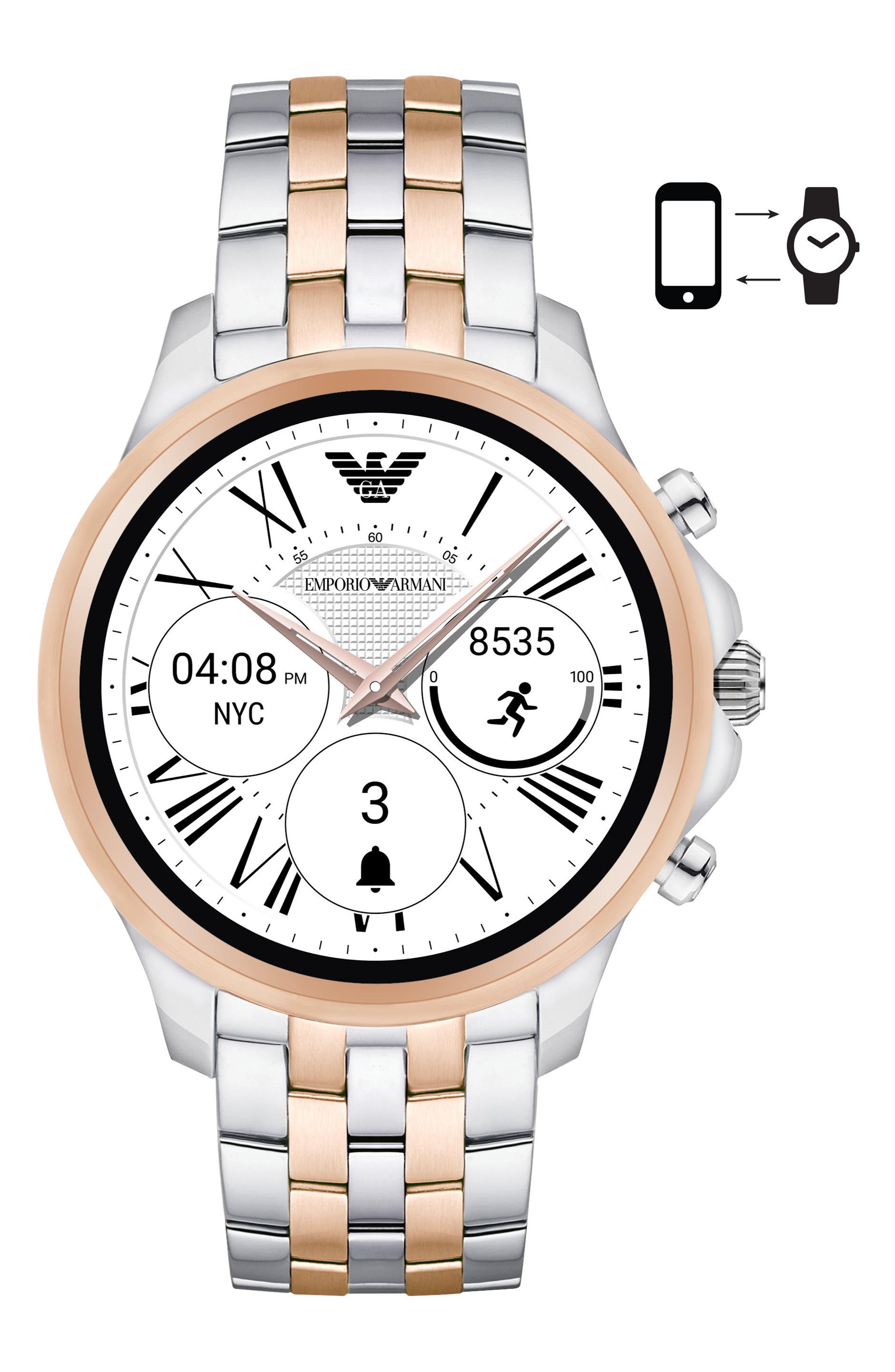 Touchscreen Bracelet Smartwatch, 46mm,                         Main,                         color, Black/ Silver