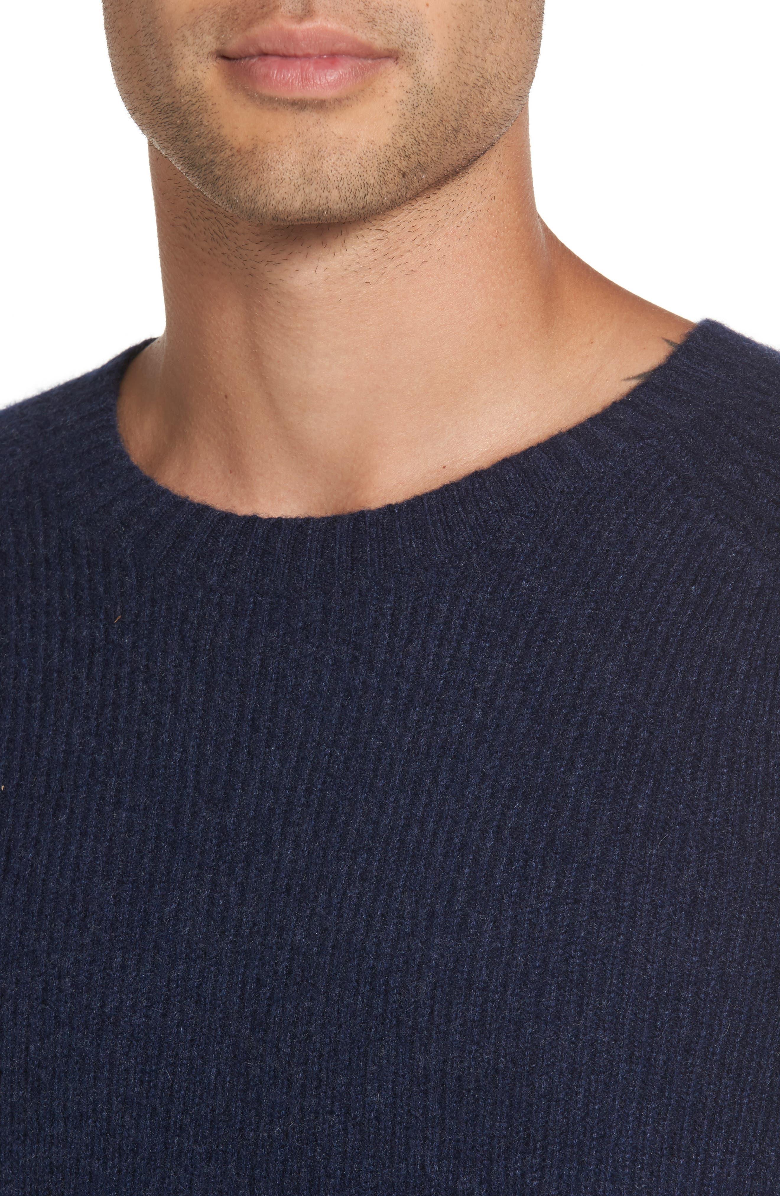 Ribbed Wool & Cashmere Raglan Sweater,                             Alternate thumbnail 4, color,                             Coastal