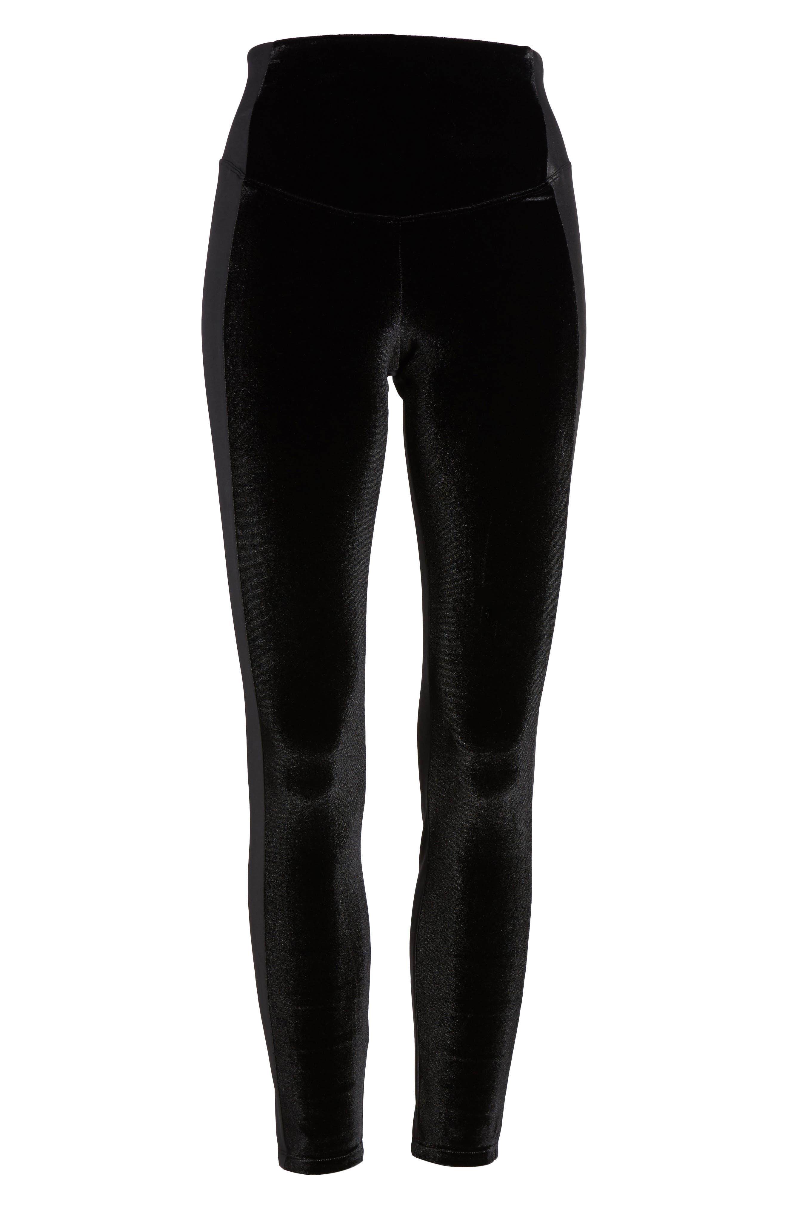 Velvet Panel Ankle Leggings,                             Alternate thumbnail 4, color,                             Black