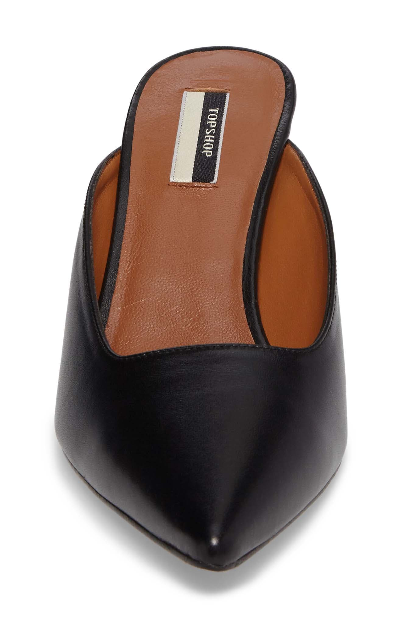 Joanne Pointy Toe Mule,                             Alternate thumbnail 4, color,                             Black