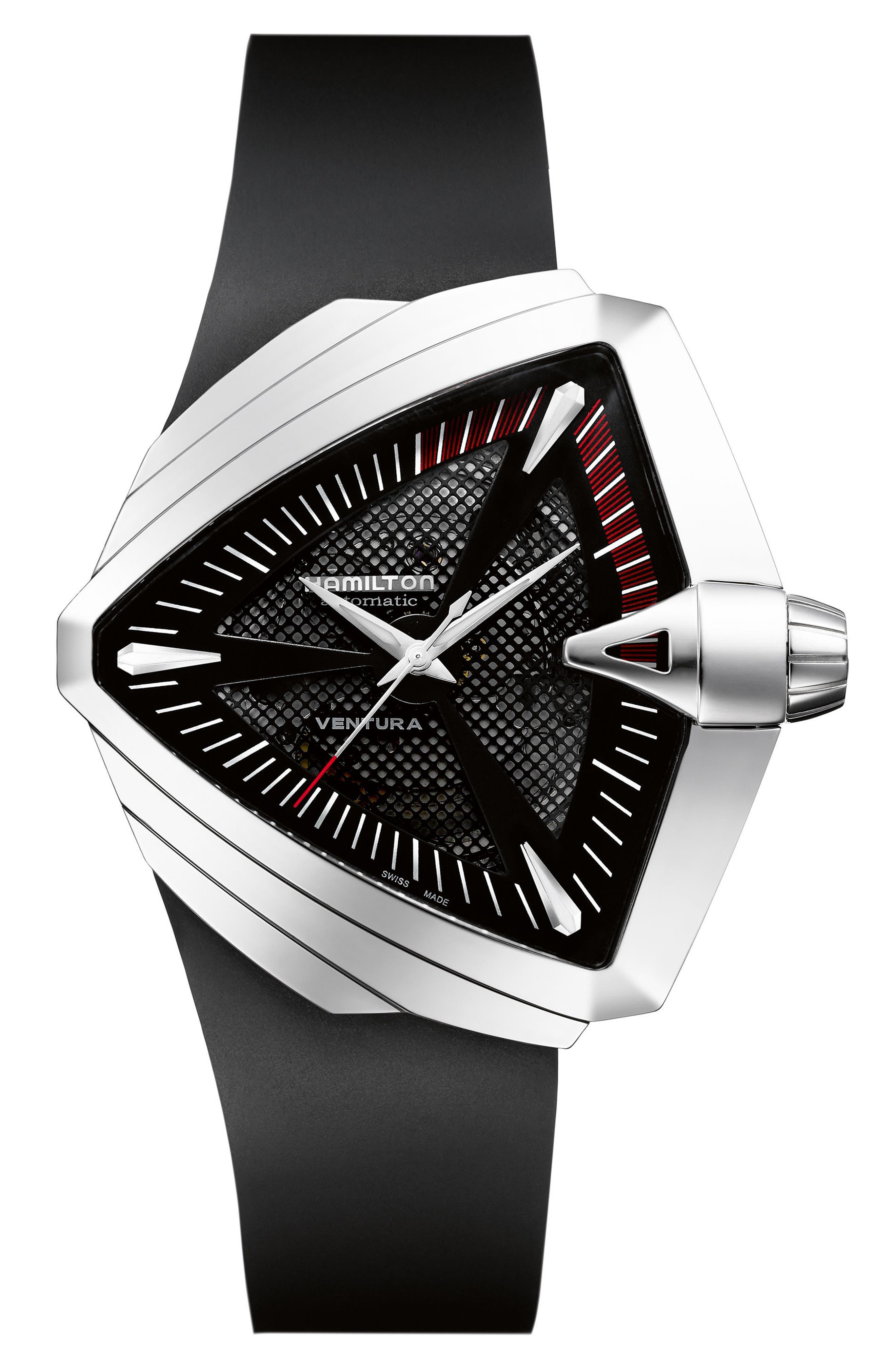 Ventura Automatic Rubber Strap Watch, 45.5mm x 46mm,                         Main,                         color, Black/ Silver