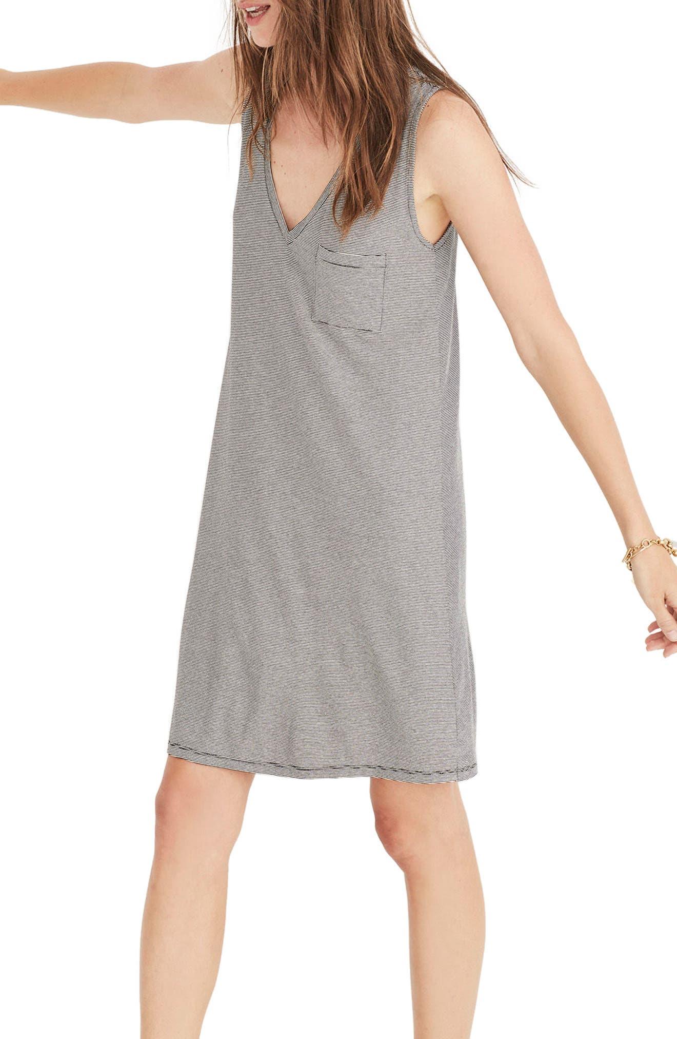 Stripe Swingy Tank Dress,                         Main,                         color, Antique Cream