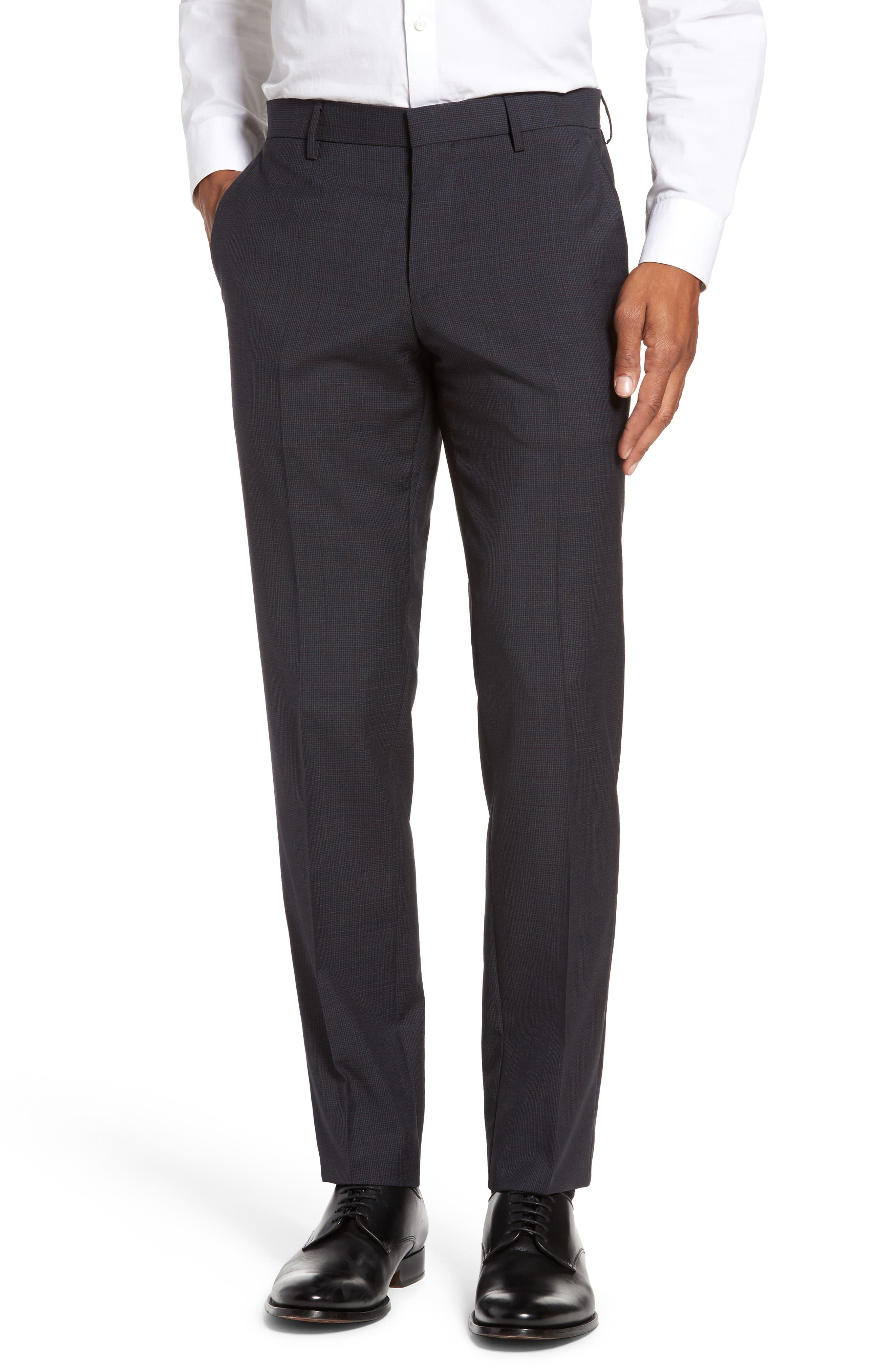 Benso Flat Front Houndstooth Wool Trousers,                         Main,                         color, Navy