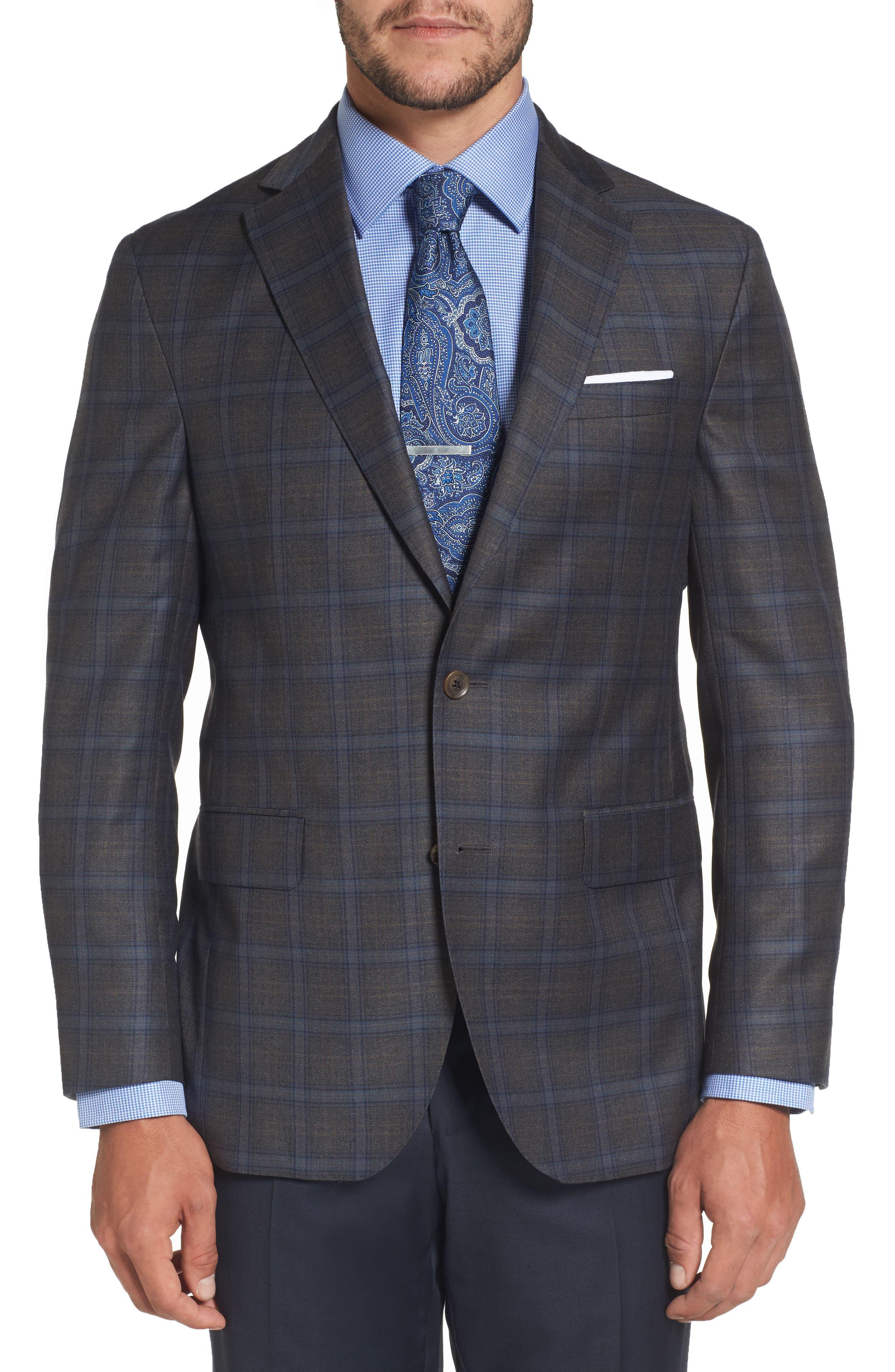 Arnold Classic Fit Plaid Wool Sport Coat,                             Main thumbnail 1, color,                             Grey