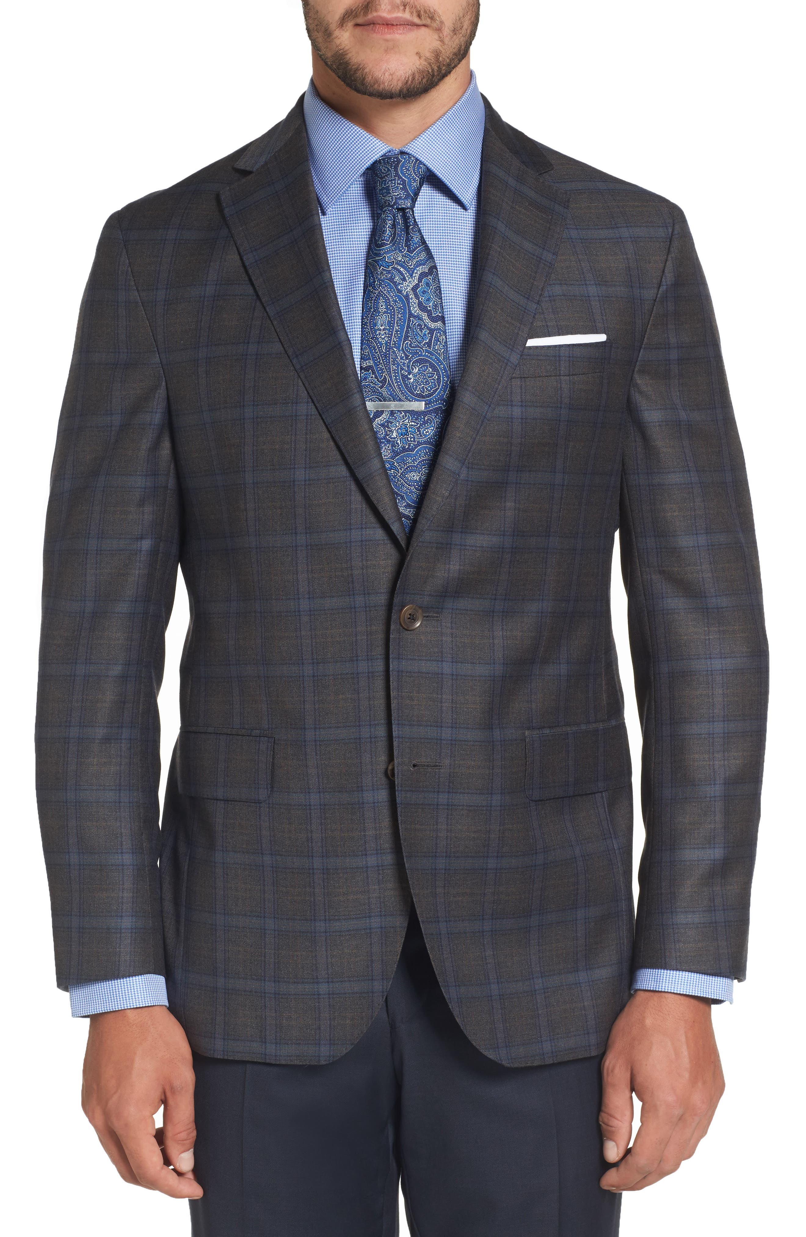Arnold Classic Fit Plaid Wool Sport Coat,                         Main,                         color, Grey