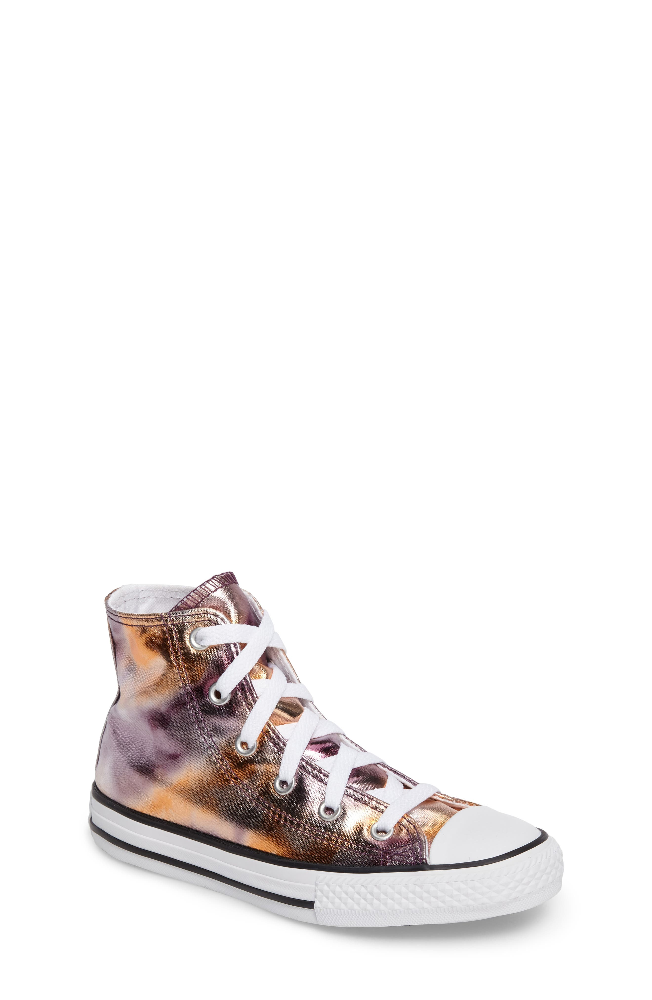Chuck Taylor<sup>®</sup> All Star<sup>®</sup> Metallic High Top Sneaker,                         Main,                         color, Dusk Pink Coated Canvas