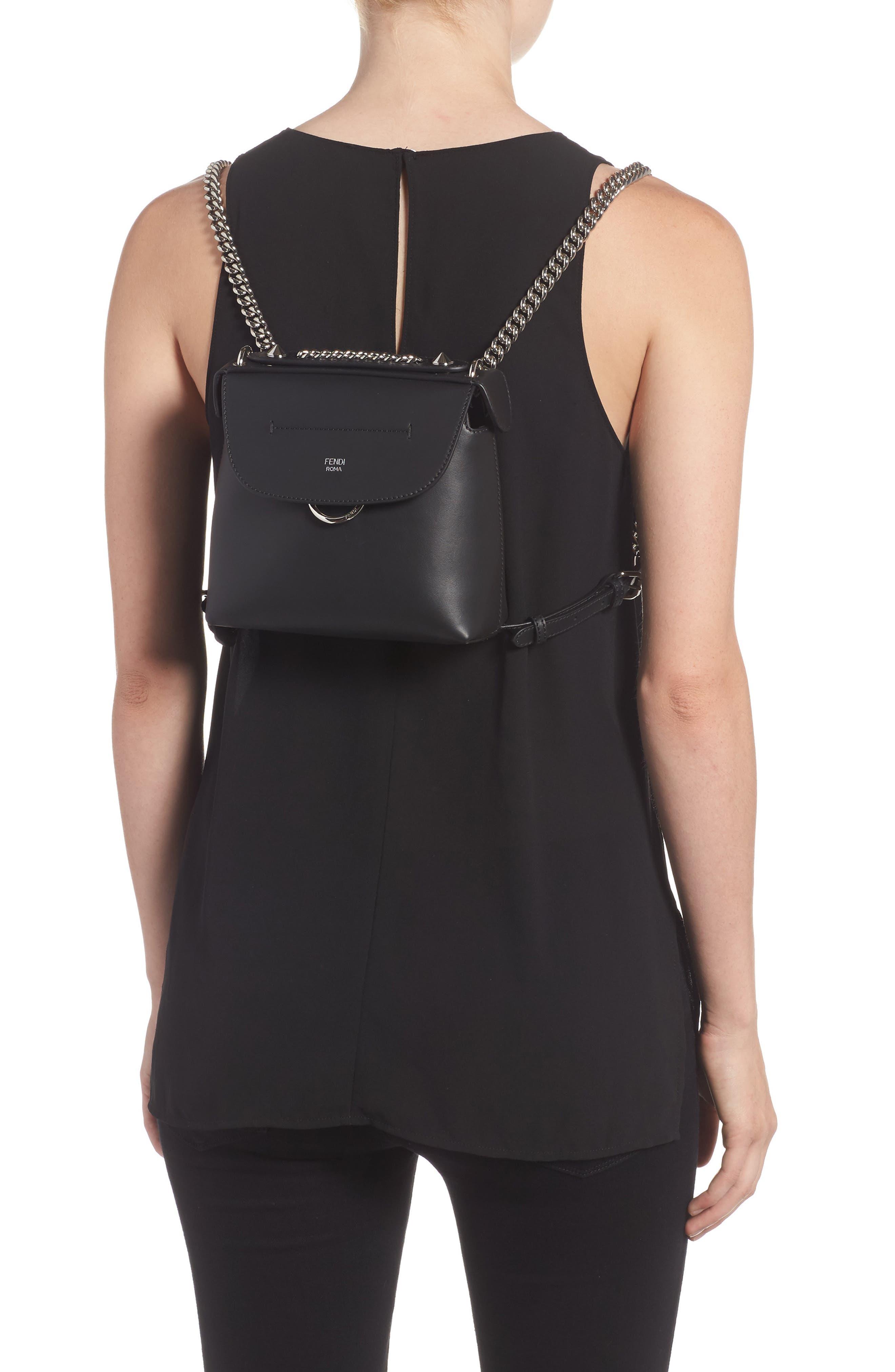 Mini Back to School Leather Backpack,                             Alternate thumbnail 2, color,                             Black Palladium