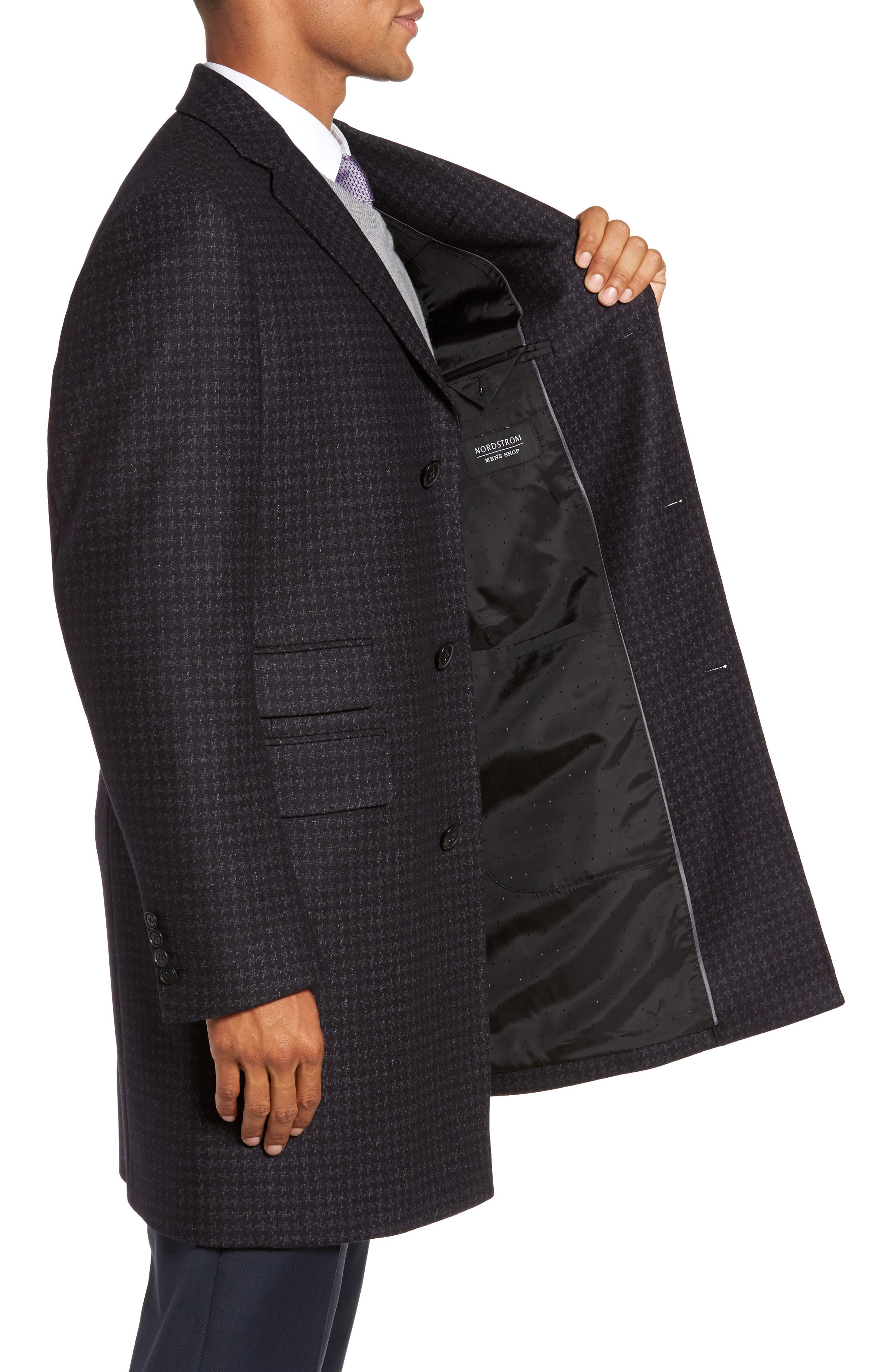 Jackson Houndstooth Wool Blend Overcoat,                             Alternate thumbnail 3, color,                             Navy