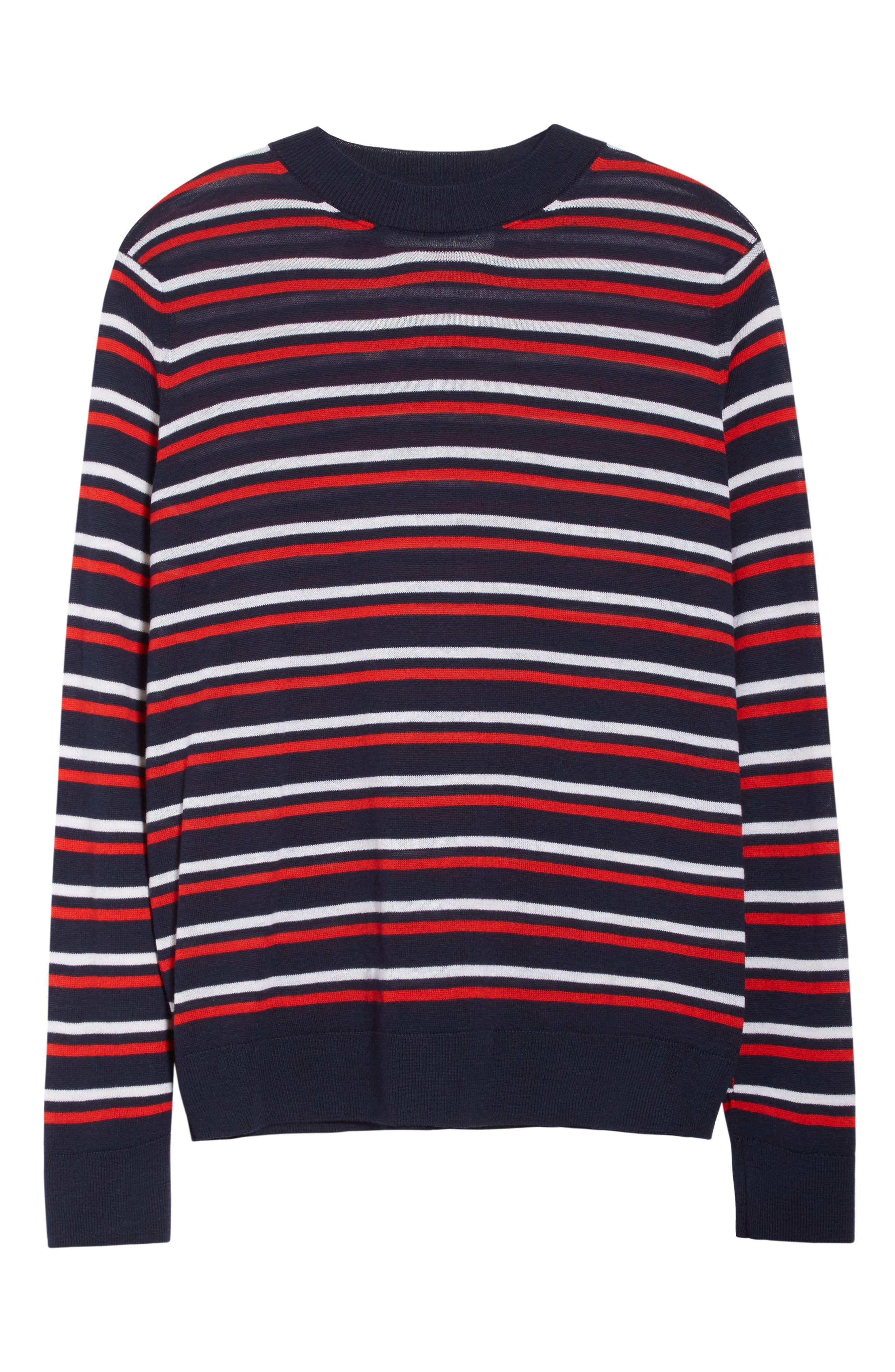 être cécile Stripe Knit Boyfriend Sweater,                             Alternate thumbnail 6, color,                             Marine Blue/ Red/ White