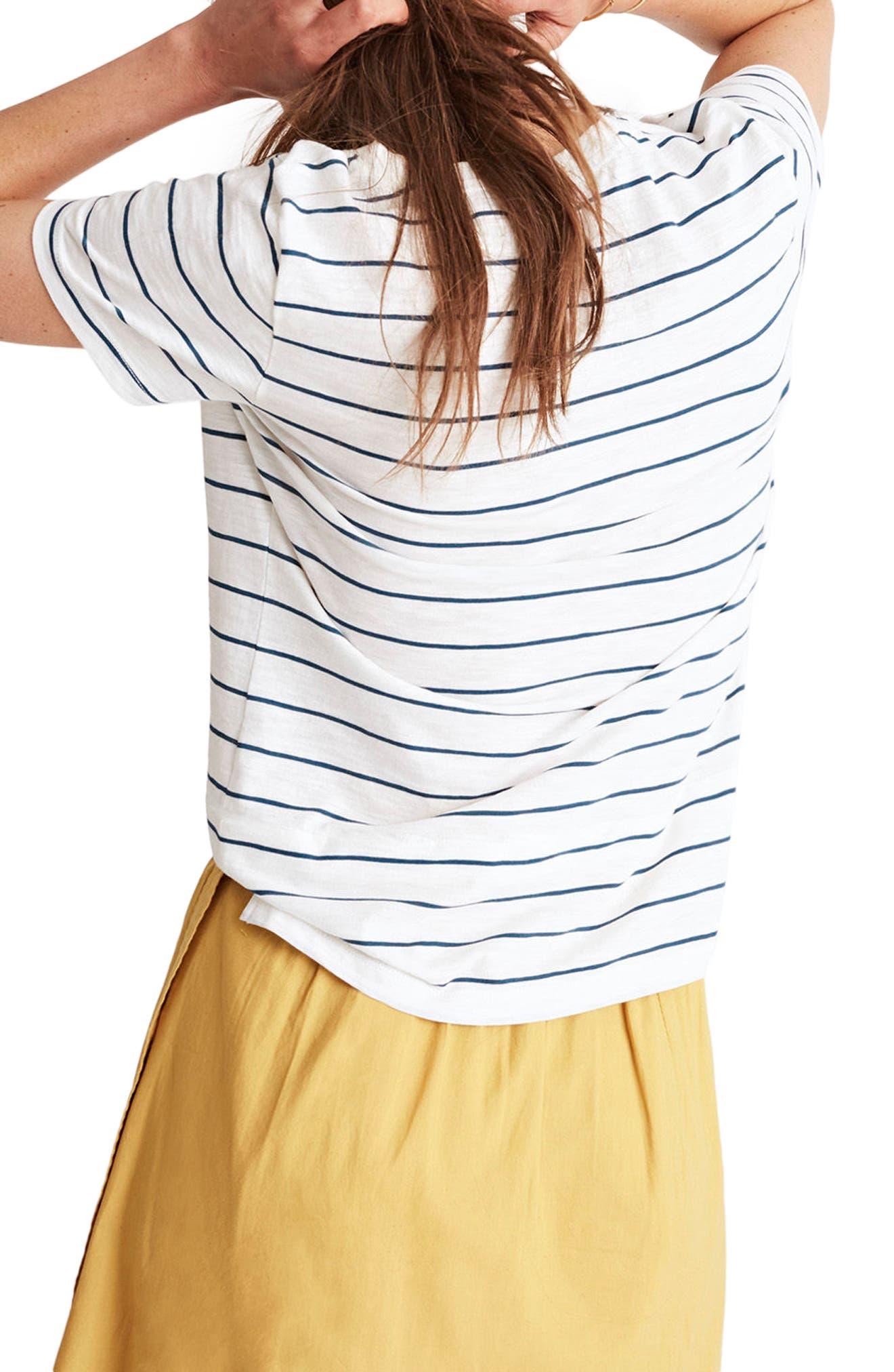Whisper Cotton Stripe V-Neck Pocket Tee,                             Alternate thumbnail 2, color,                             Bright Ivory