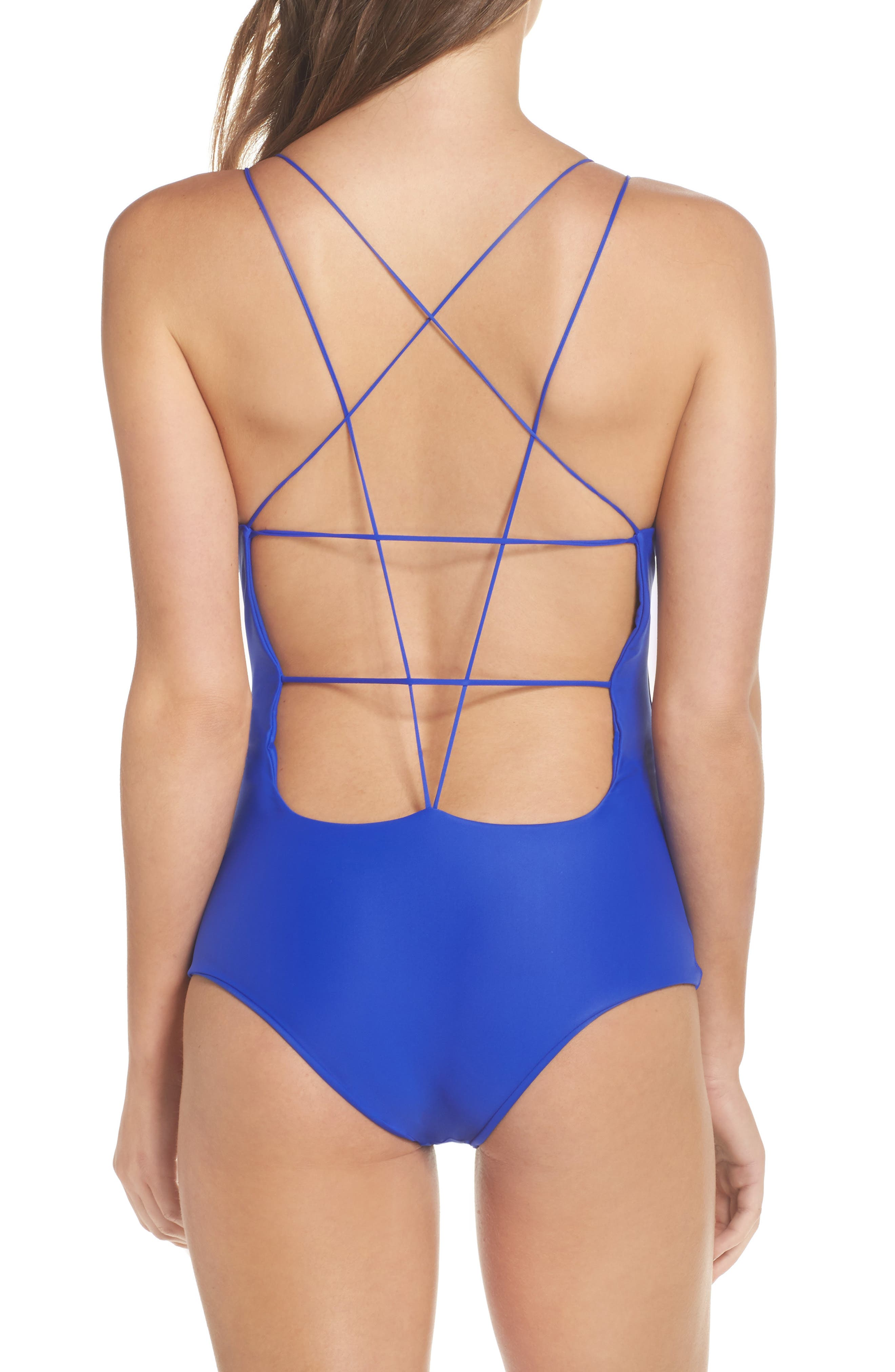 Kilauea One-Piece Swimsuit,                             Alternate thumbnail 2, color,                             Electric Eel
