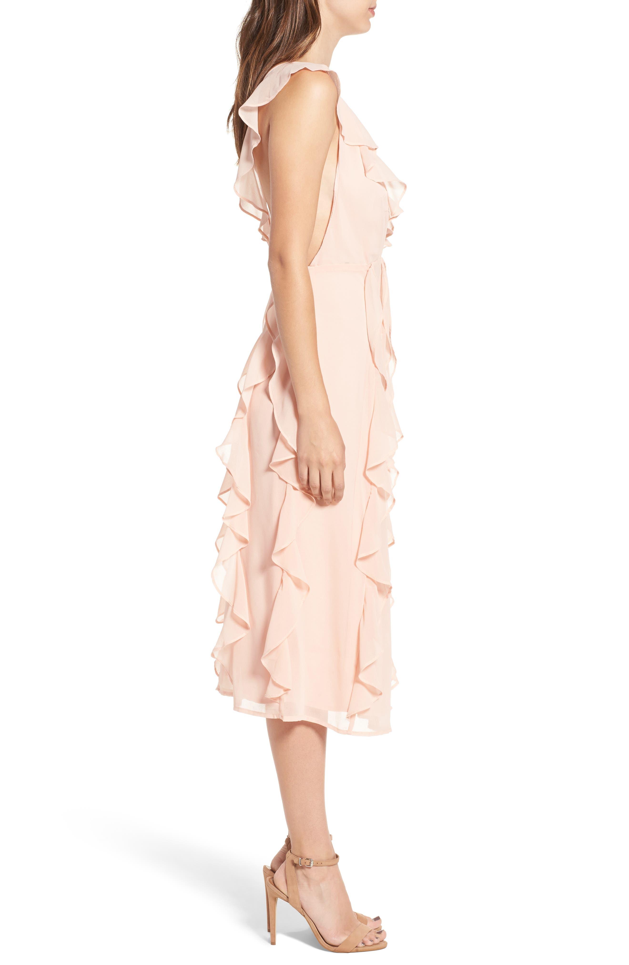 Ingrid Ruffle Chiffon Midi Dress,                             Alternate thumbnail 3, color,                             Cameo Rose