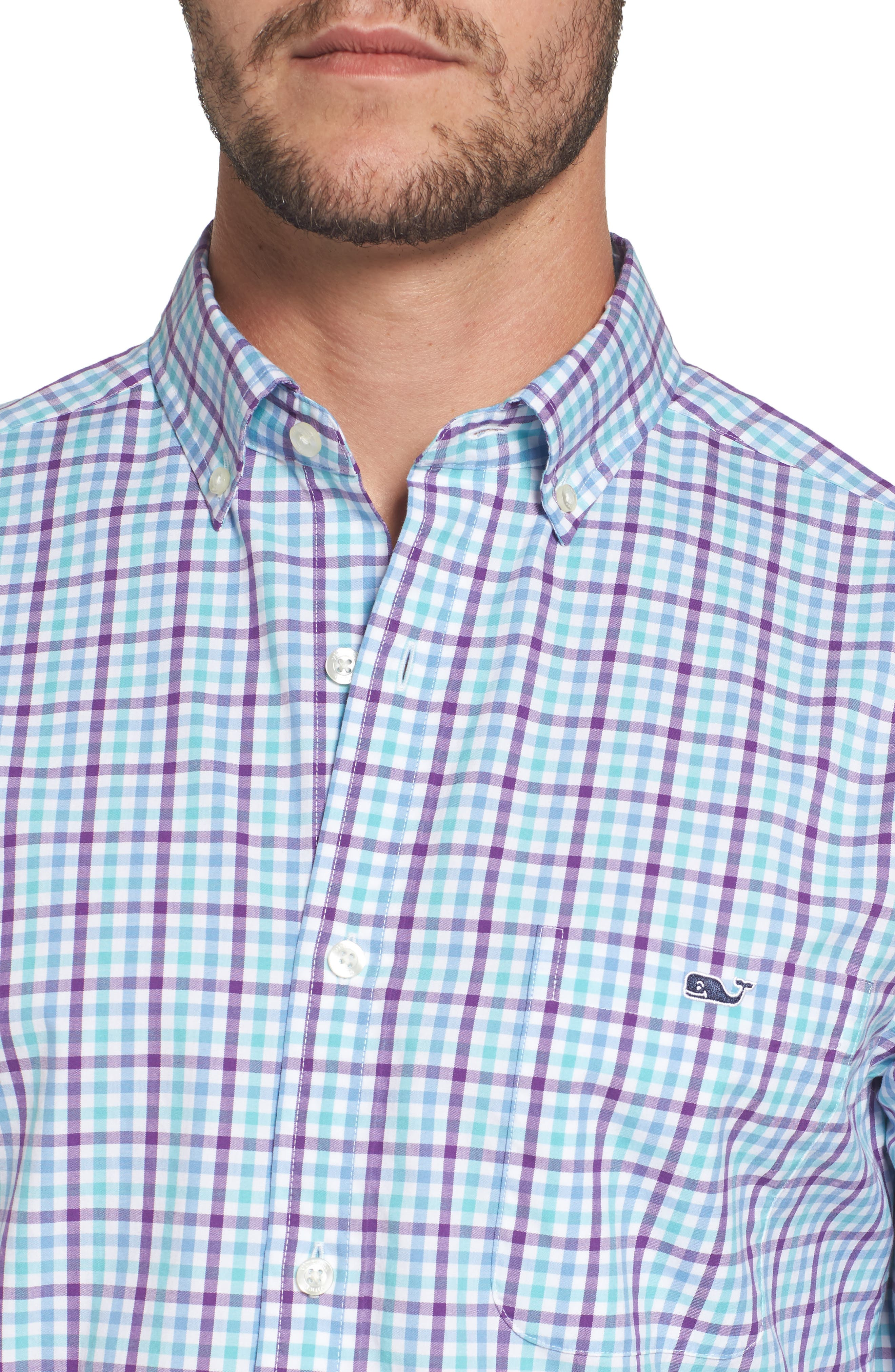 Alternate Image 4  - vineyard vines Tucker Classic Fit Gingham Sport Shirt