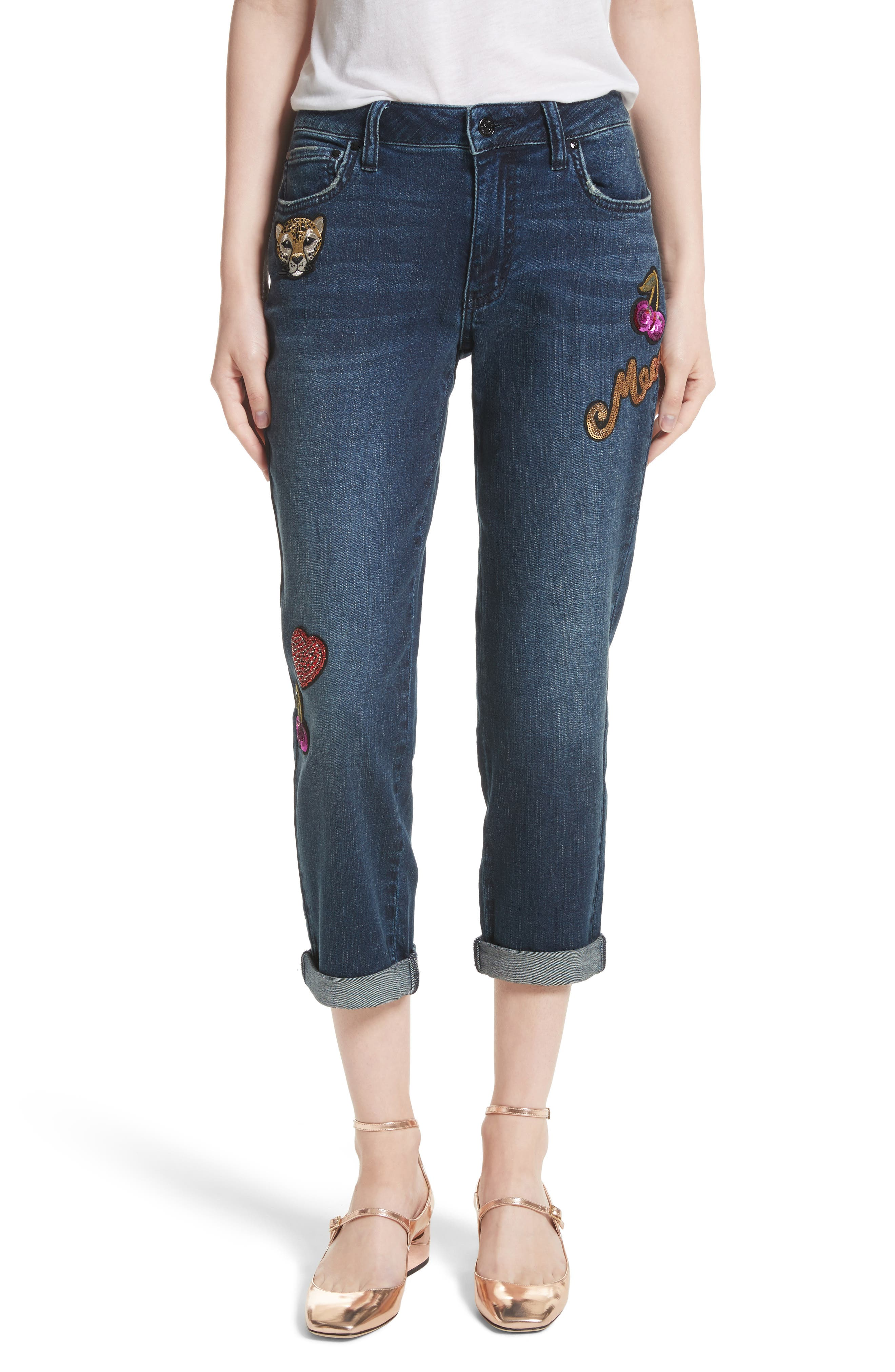 kate spade sequin patch boyfriend jeans (billie)