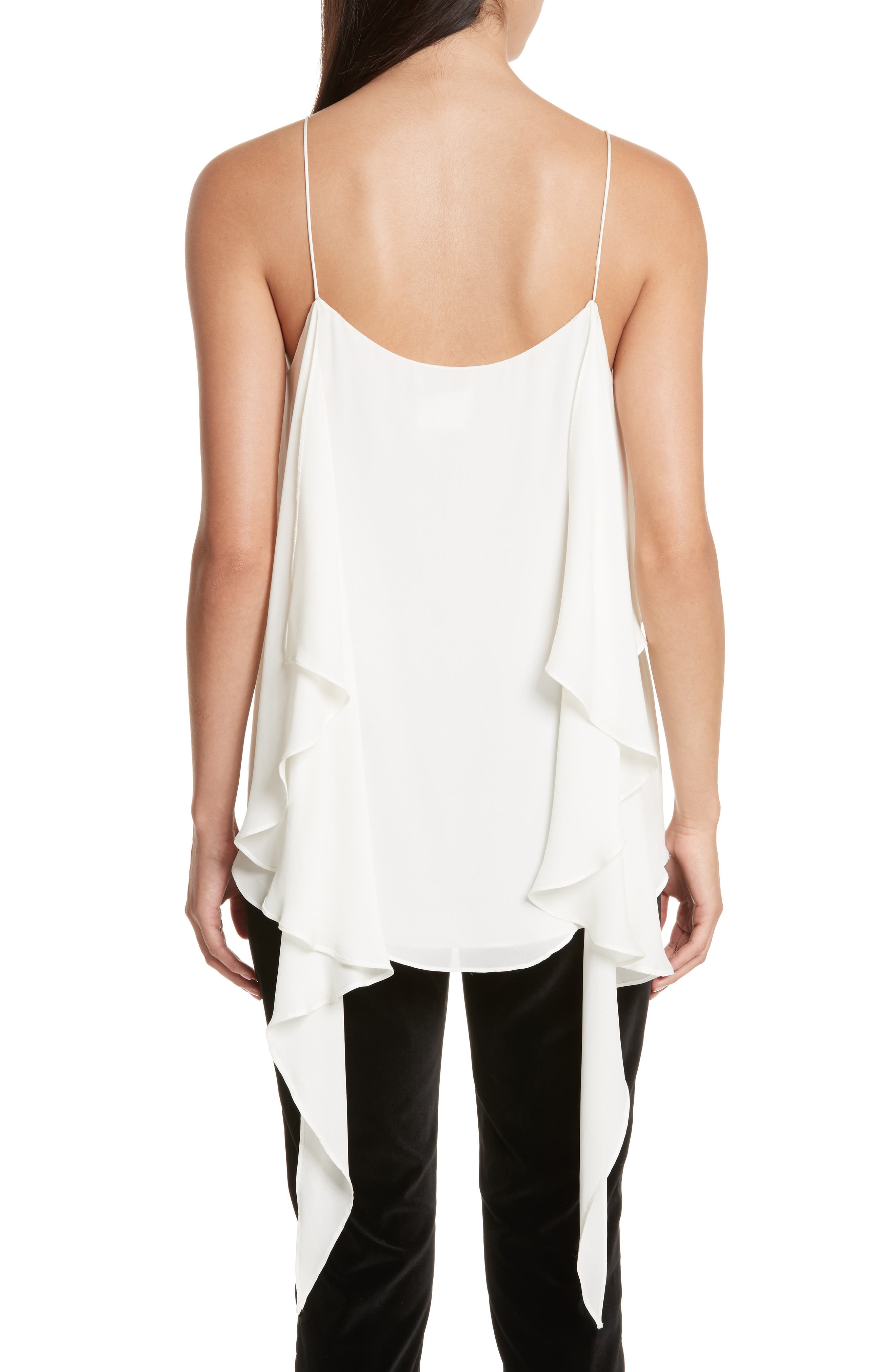 Maribel Asymmetrical Drape Silk Camisole,                             Alternate thumbnail 3, color,                             Off White
