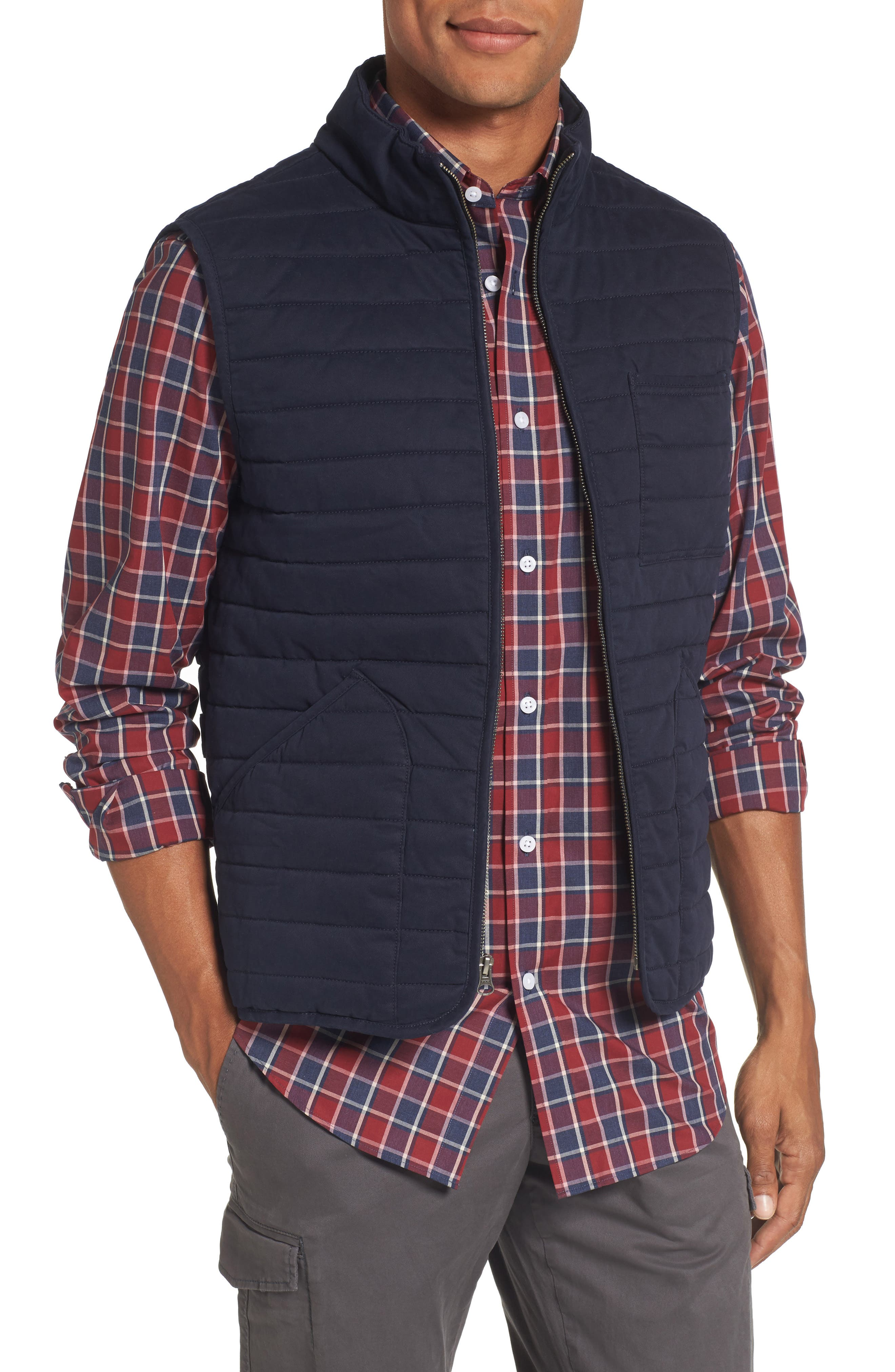 Quilted Twill Vest,                         Main,                         color, Navy Night