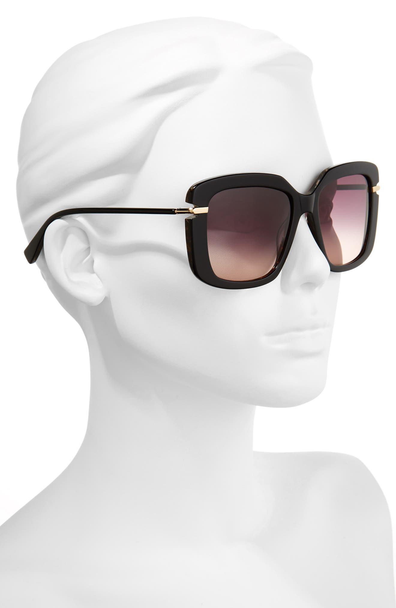 Anita 55mm Square Sunglasses,                             Alternate thumbnail 2, color,                             Black Brown