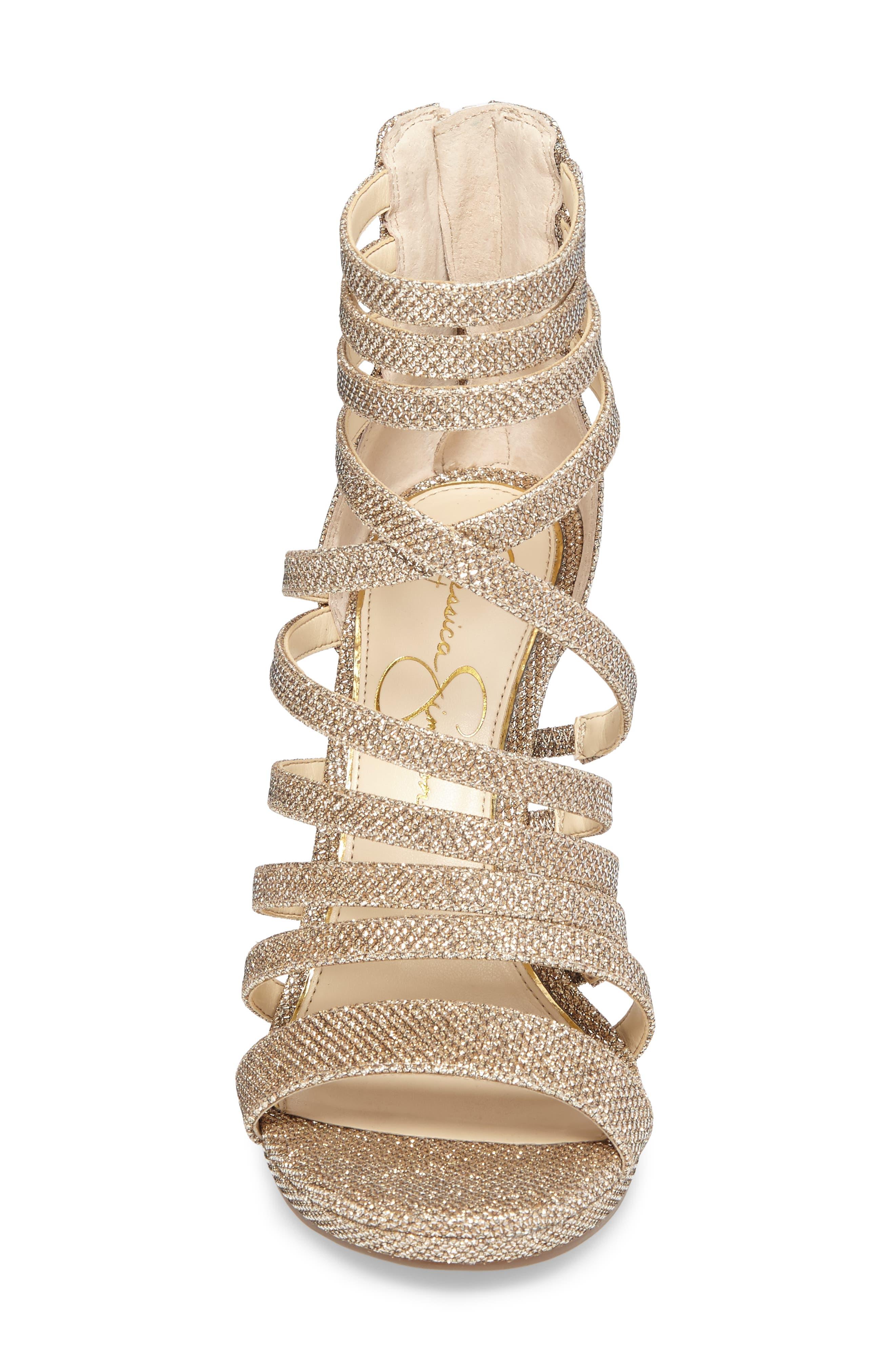 Palkaya Strappy Sandal,                             Alternate thumbnail 4, color,                             Gold Sparkle Mesh