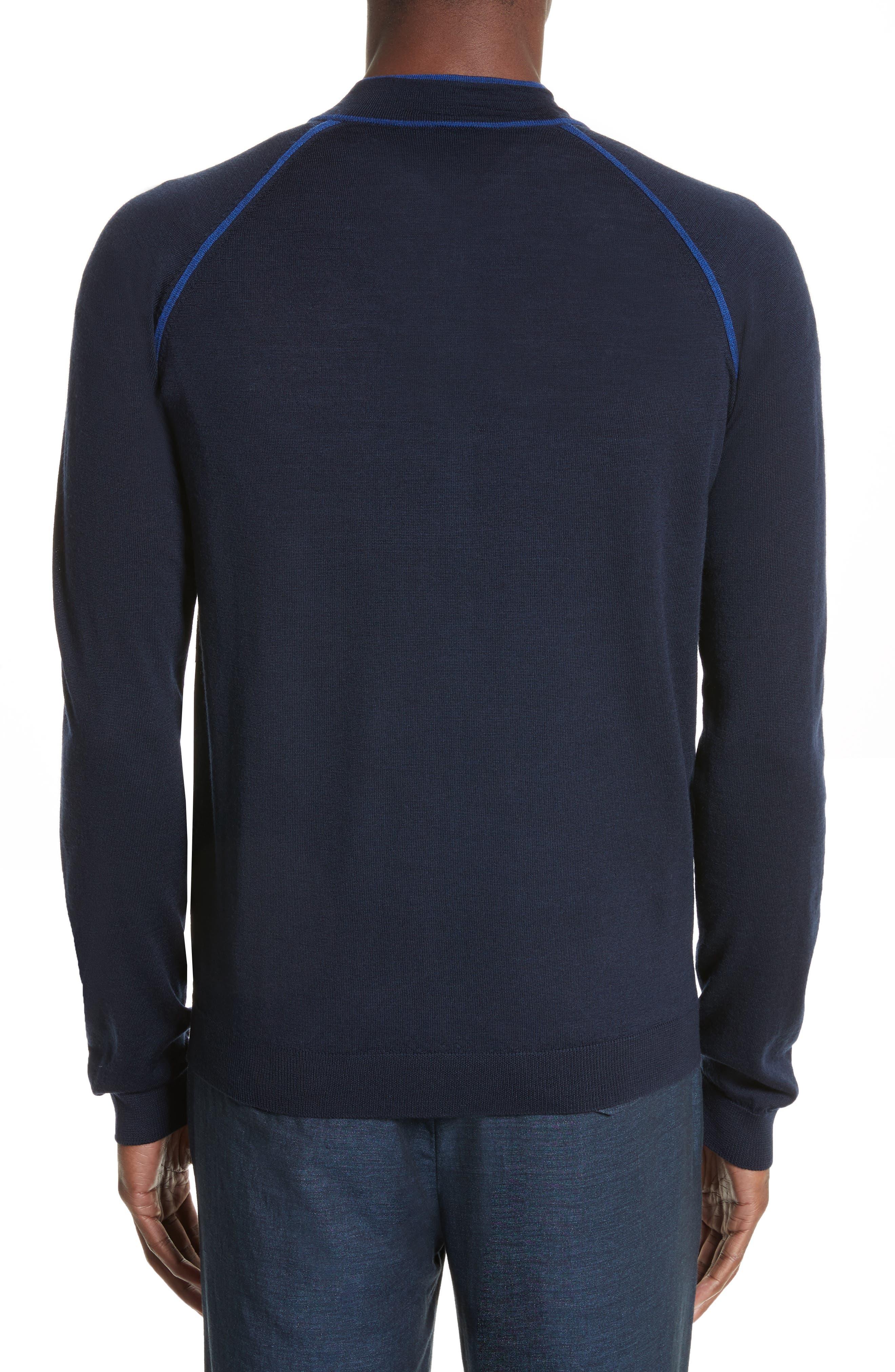 Alternate Image 2  - Armani Collezioni Zip Front Raglan Sweatshirt
