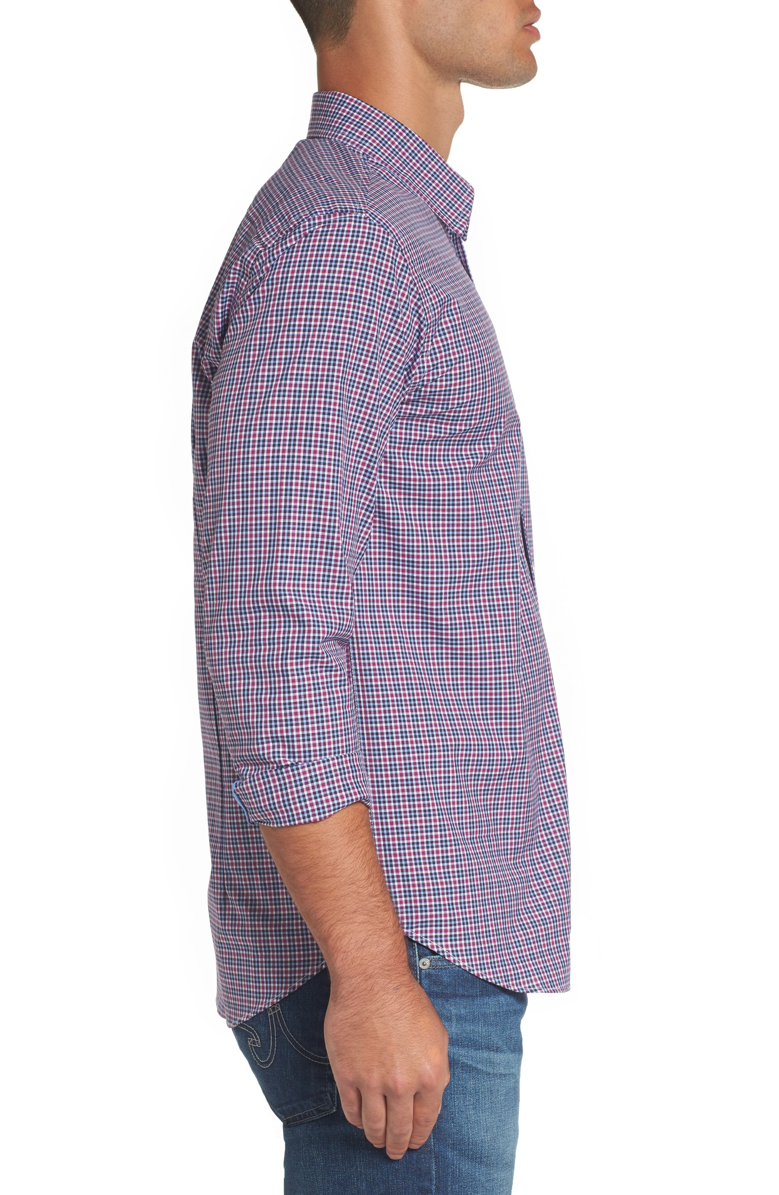 Comfort Fit Plaid Sport Shirt,                             Alternate thumbnail 3, color,                             Medium Purple
