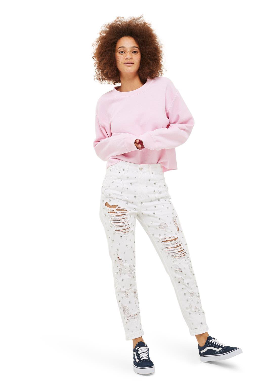 TOPSHOP Super Rip Gemstone Mom Jeans