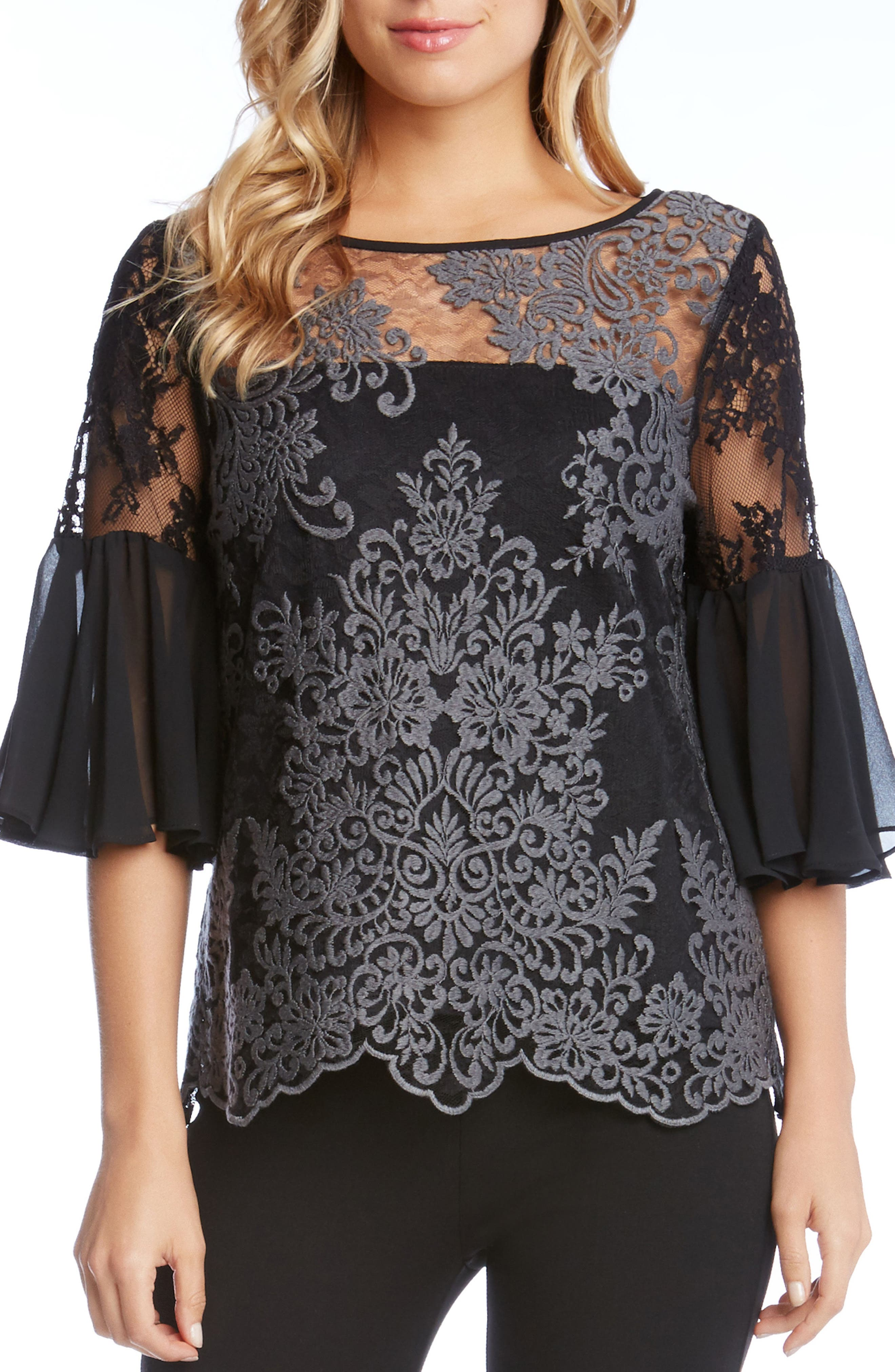 Flare Sleeve Lace Overlay Top,                         Main,                         color, Grey/ Black