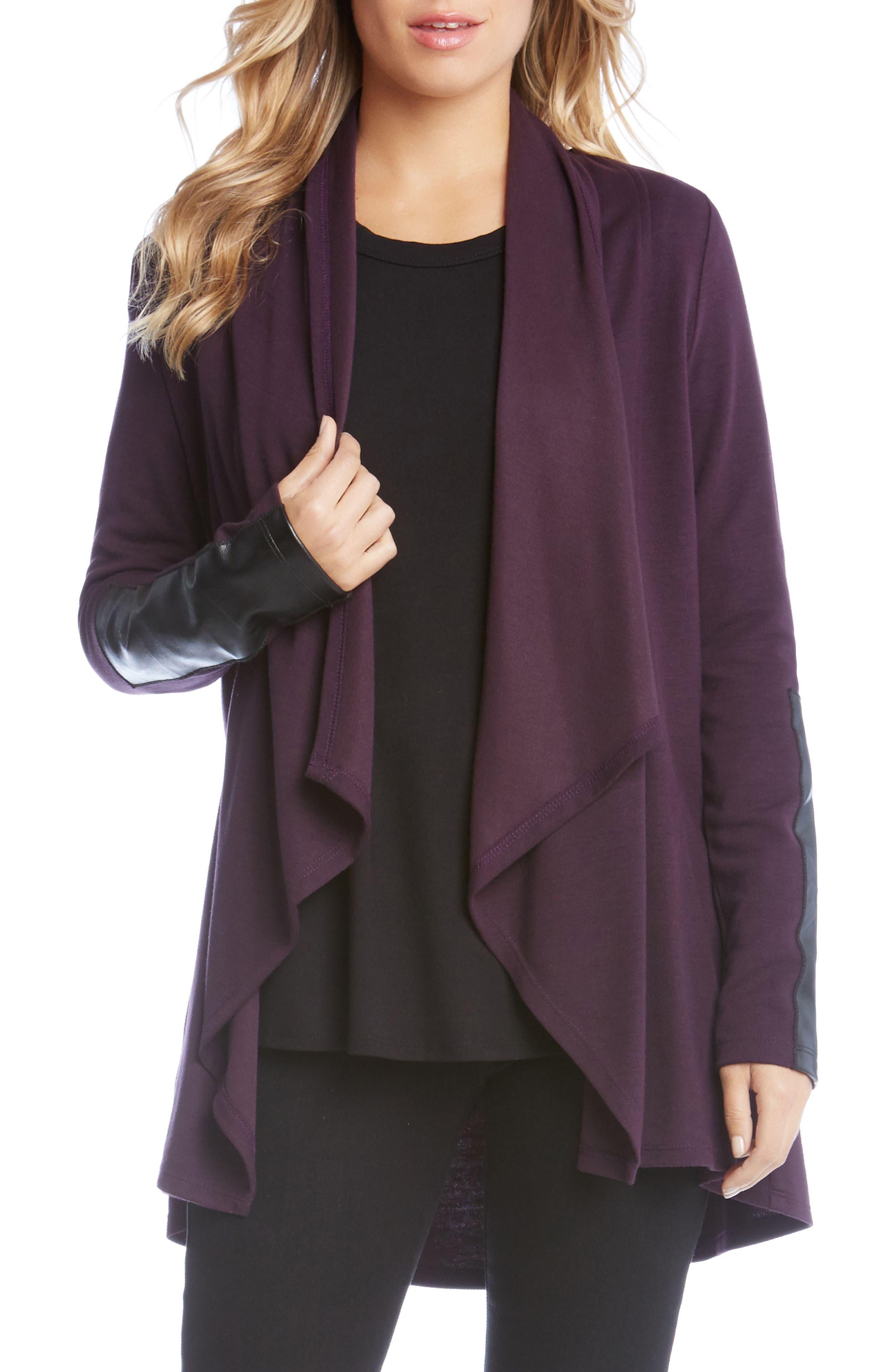 Main Image - Karen Kane Faux Leather Patch Fleece Knit Jacket