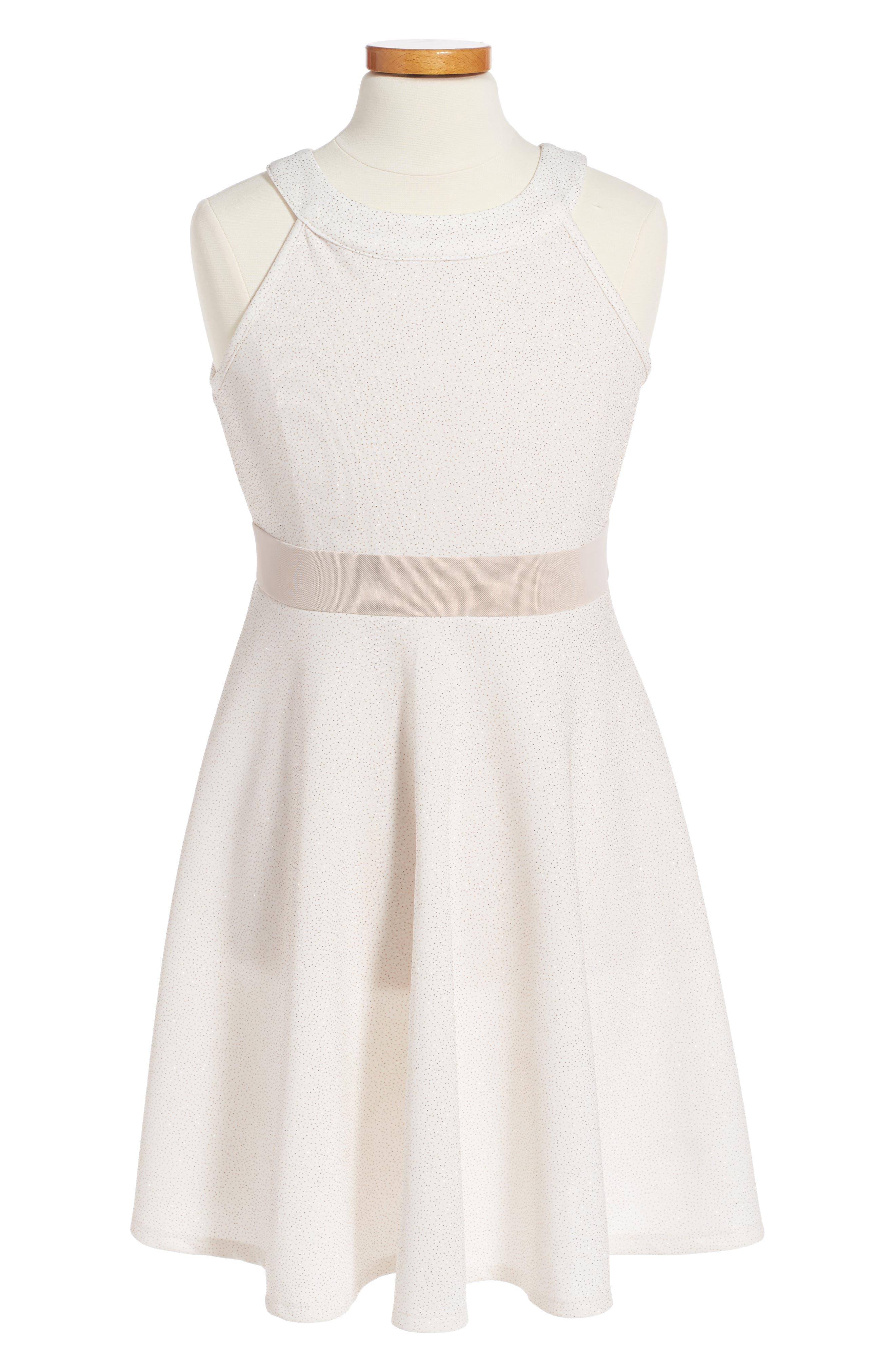 Glitter Scuba Dress,                             Main thumbnail 1, color,                             Ivory/ Gold