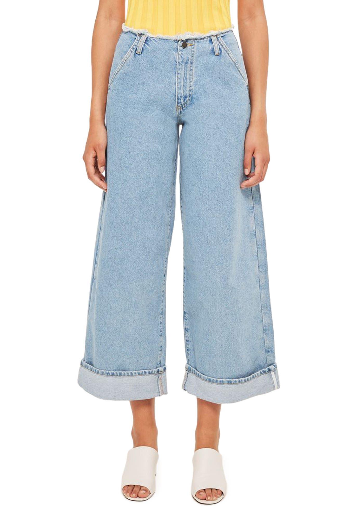 Main Image - Topshop Boutique Frayed Waist Super Wide Leg Jeans