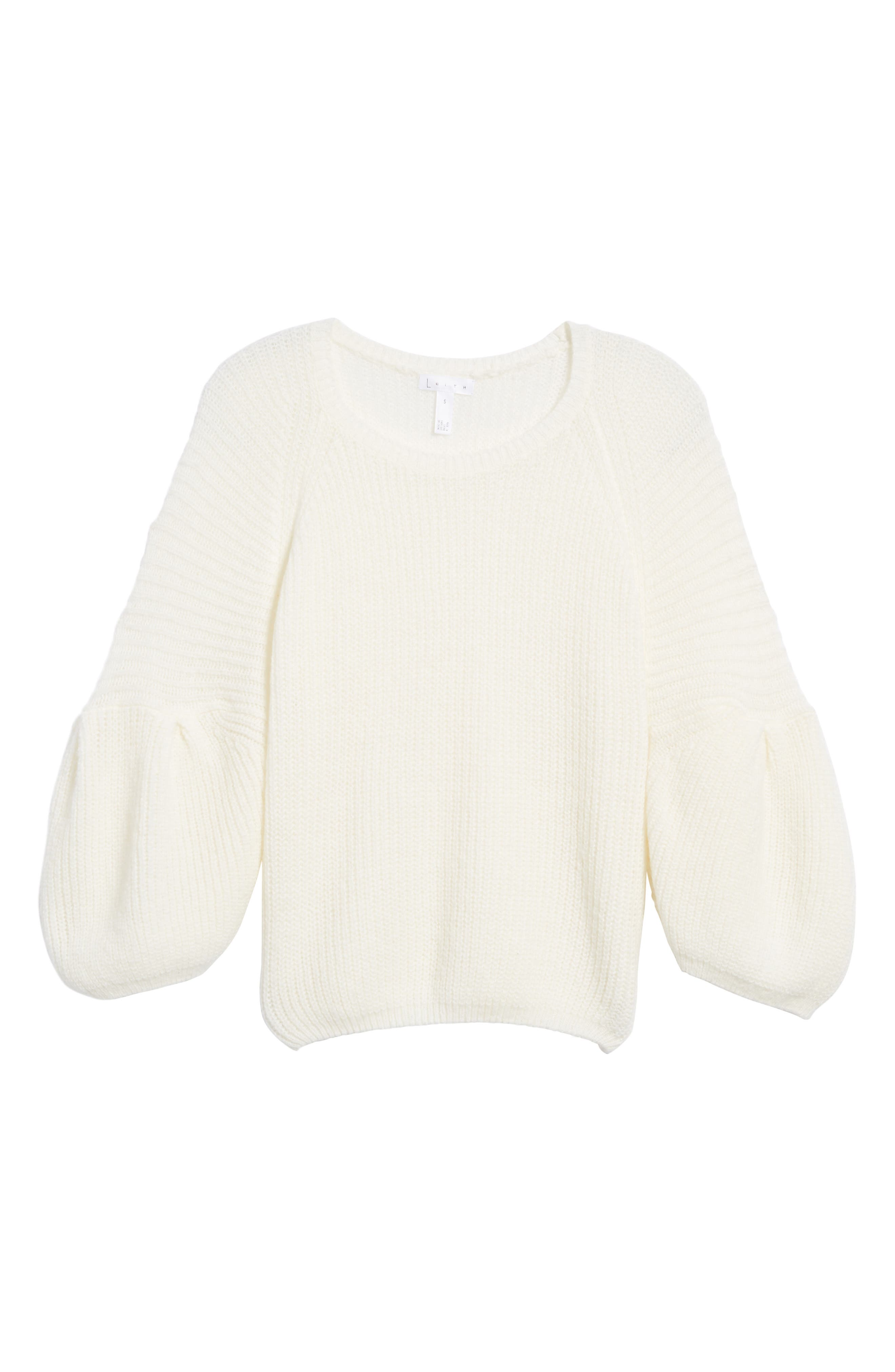 Bubble Sleeve Sweater,                             Alternate thumbnail 6, color,                             Ivory