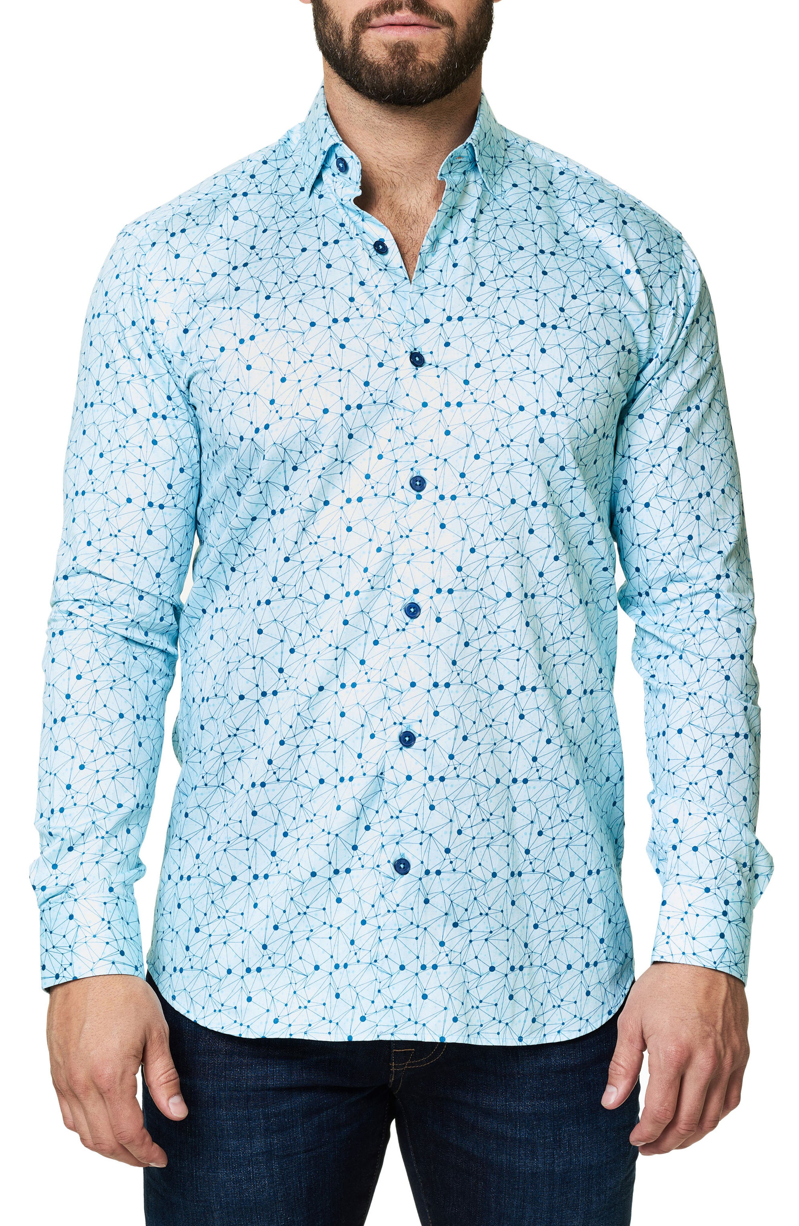 Geo Print Sport Shirt,                             Main thumbnail 1, color,                             Blue