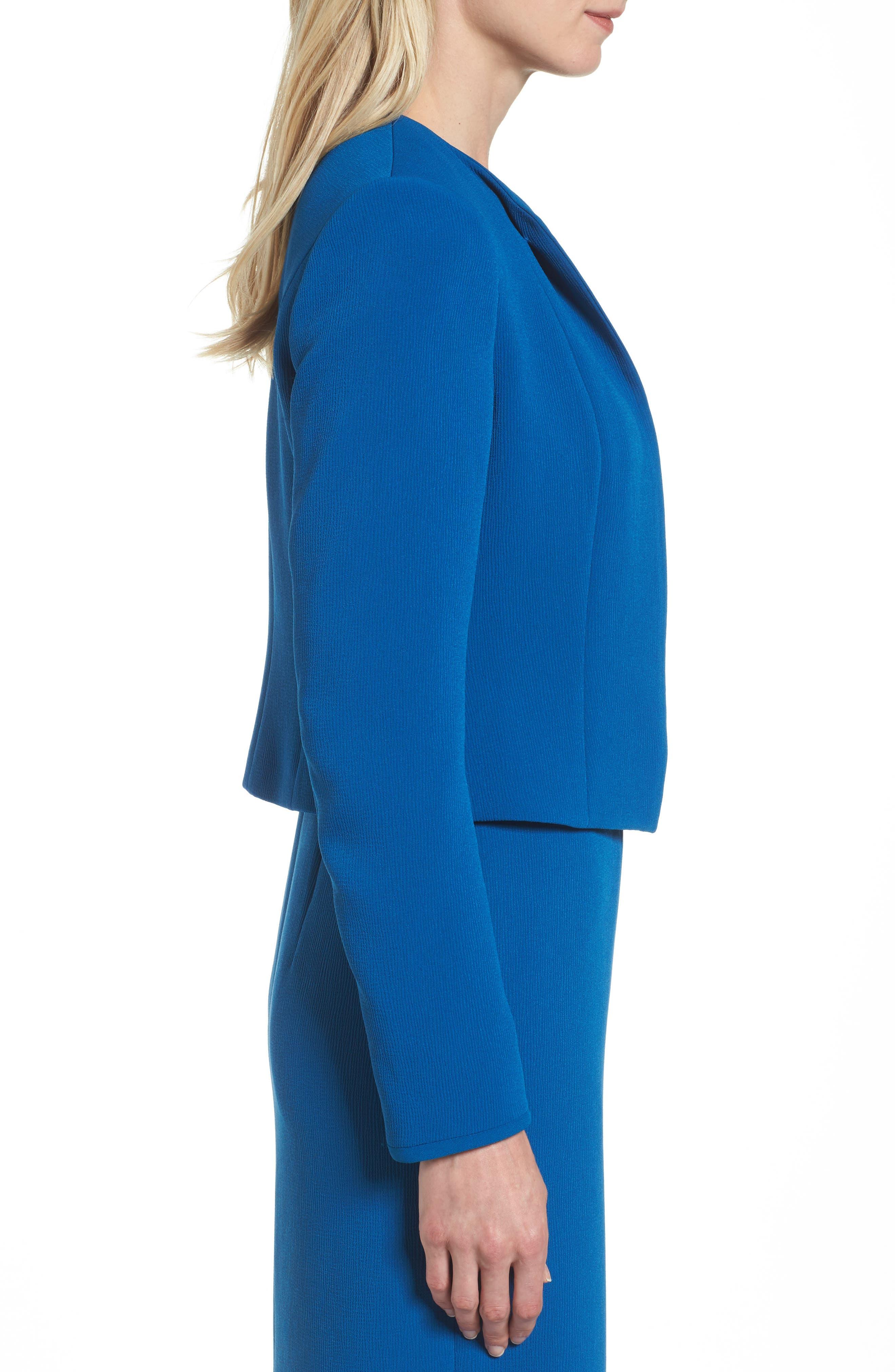 Jerusa Crop Suit Jacket,                             Alternate thumbnail 3, color,                             Gentian Blue