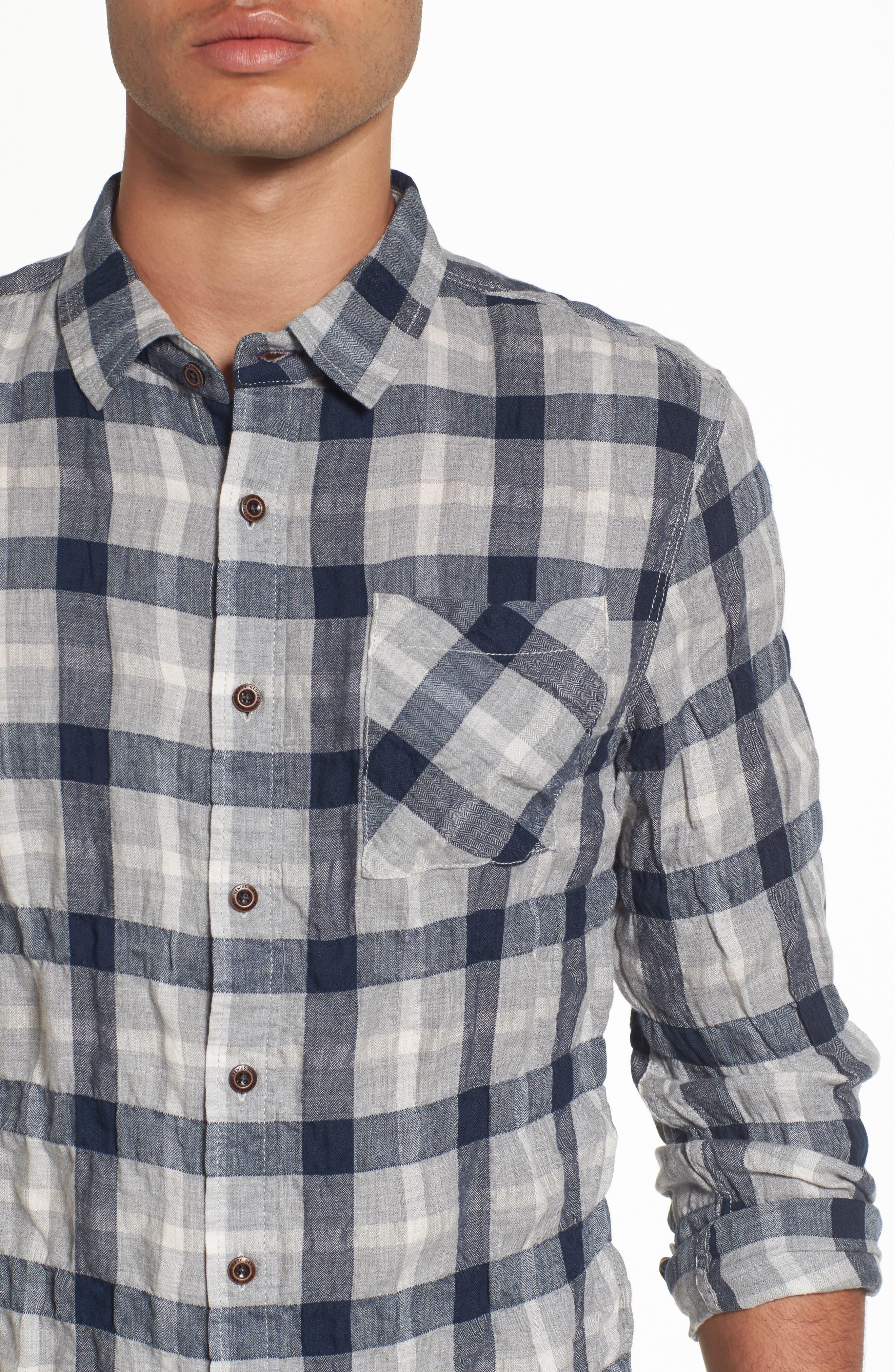Truman Plaid Sport Shirt,                             Alternate thumbnail 4, color,                             Gray/ Navy/ White