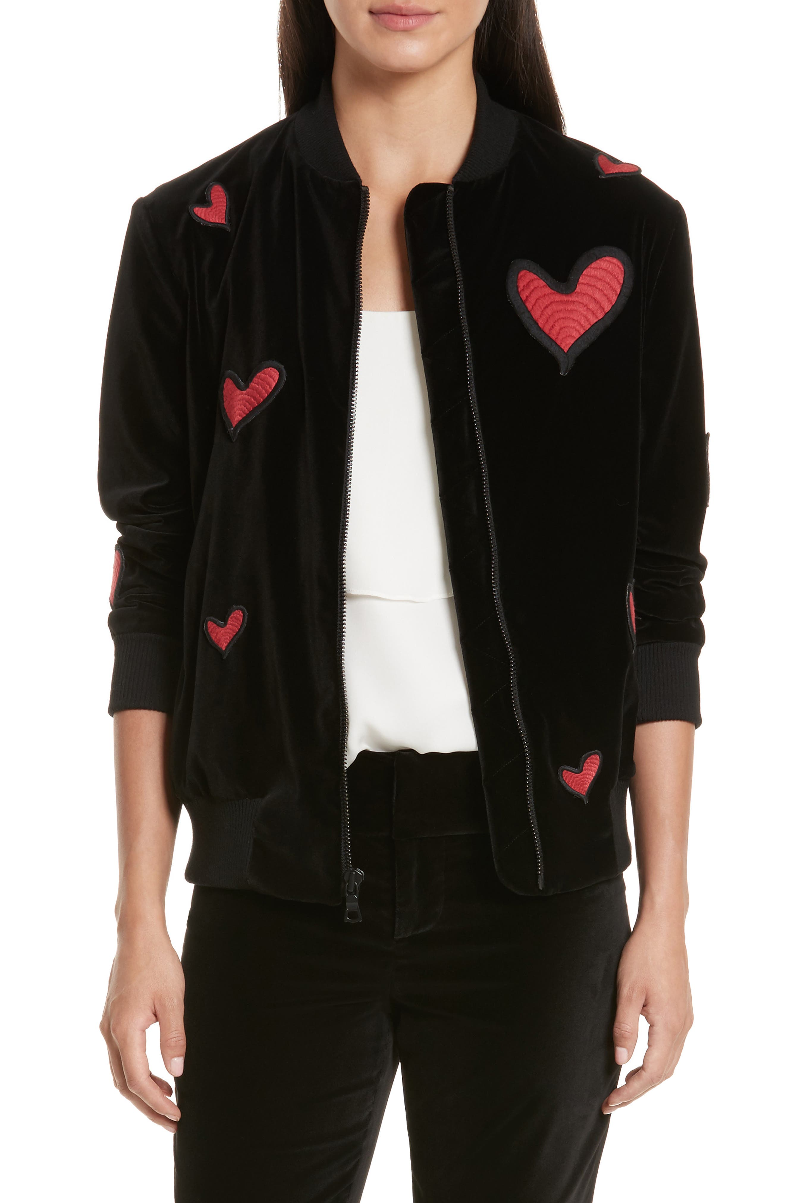 Embroidered Patch Oversize Bomber Jacket,                             Main thumbnail 1, color,                             Black Red