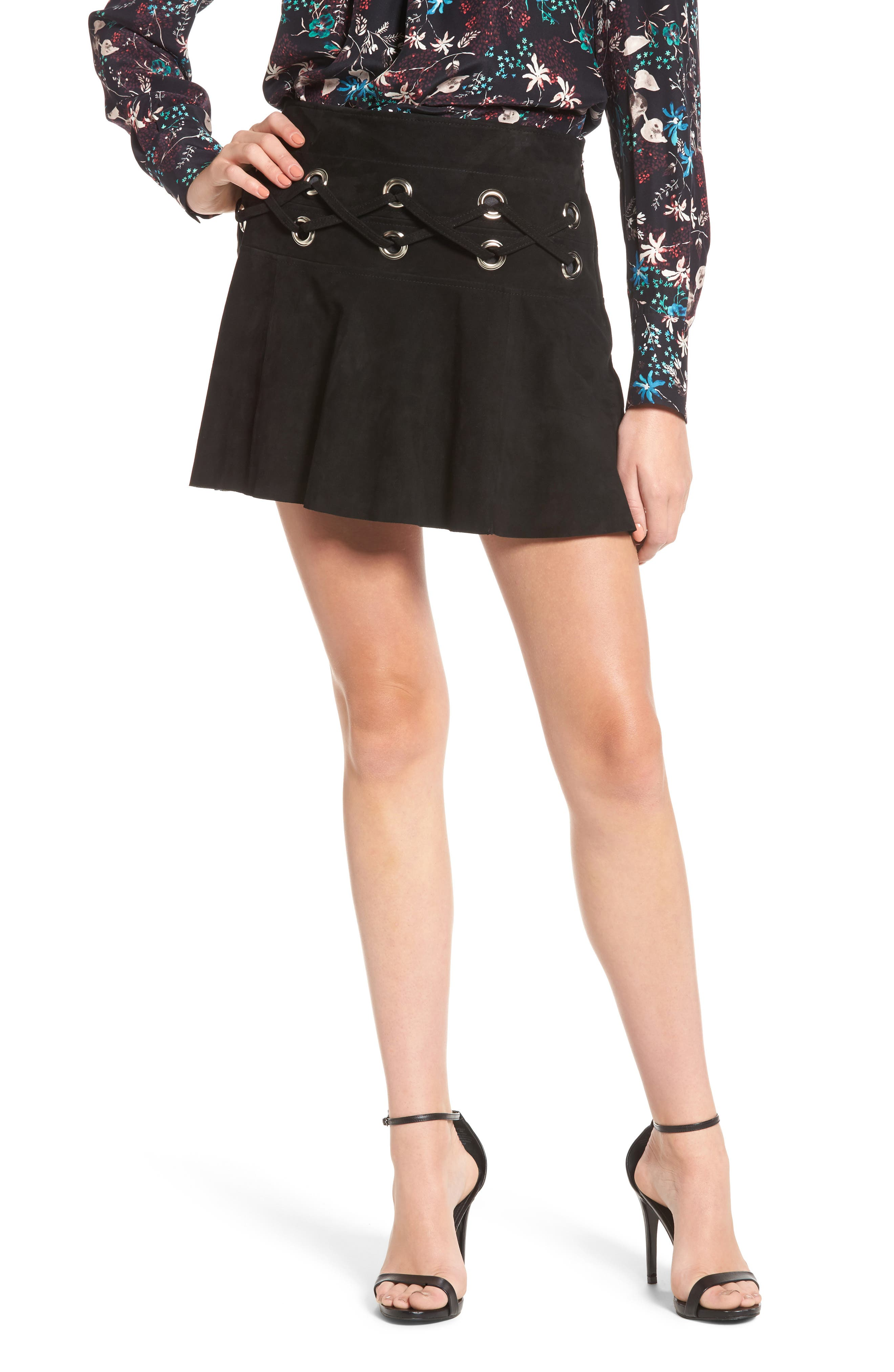 Grommet Suede Miniskirt,                         Main,                         color, Black