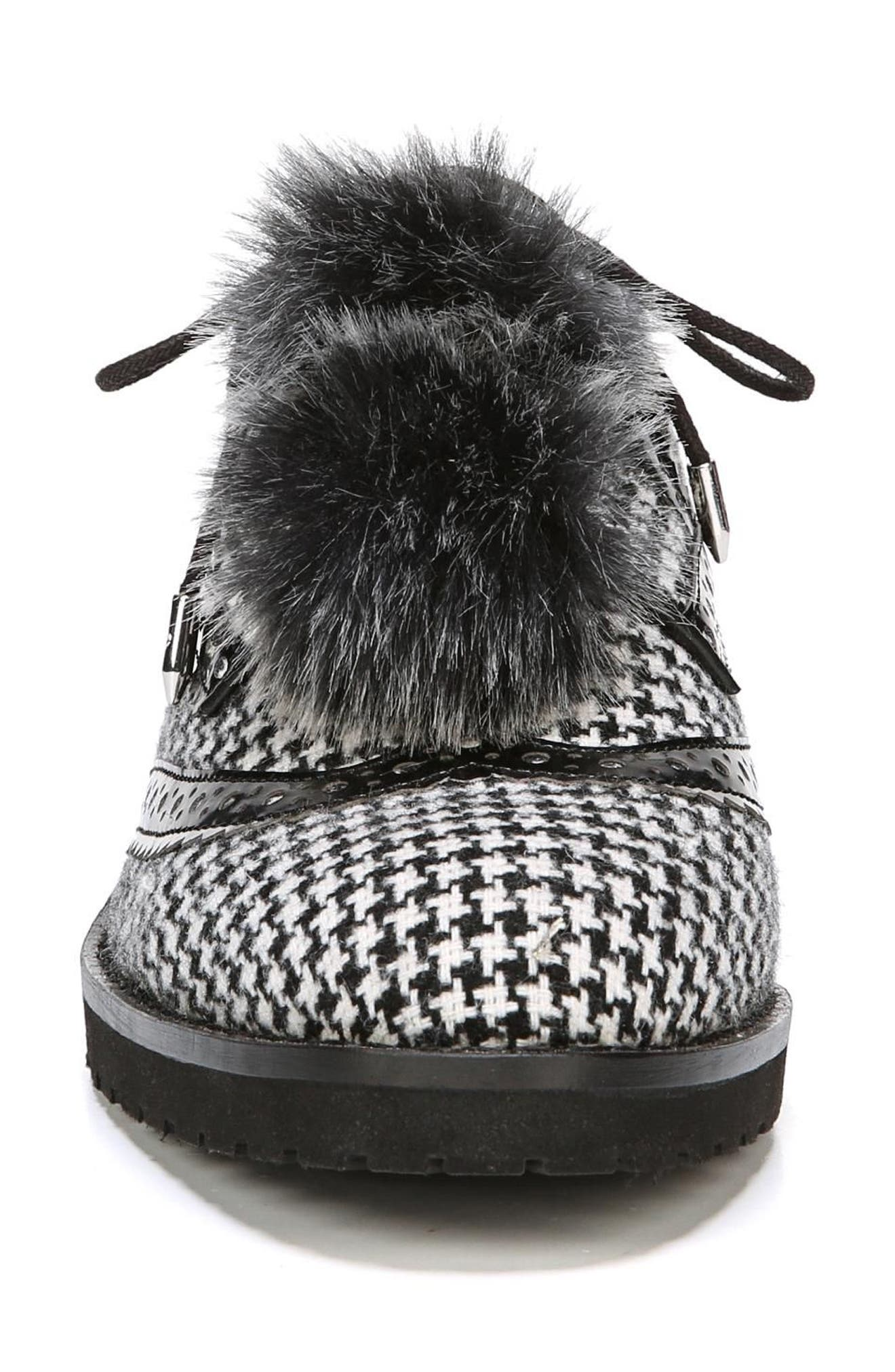 Dahl Oxford with Faux Fur Pompom,                             Alternate thumbnail 4, color,                             Black/ White Houndstooth