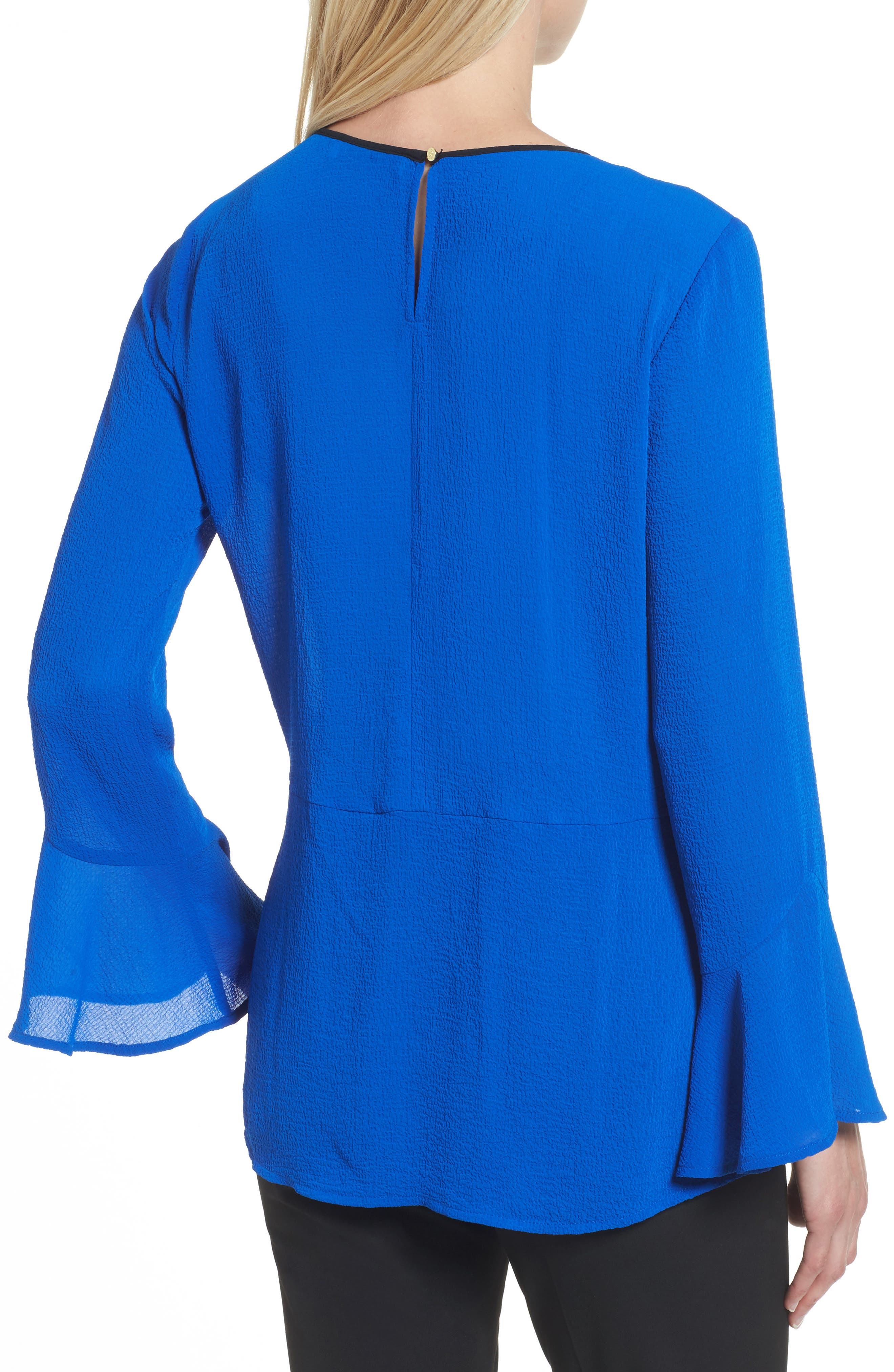 Flare Sleeve Crepe Blouse,                             Alternate thumbnail 2, color,                             Royal Cobalt