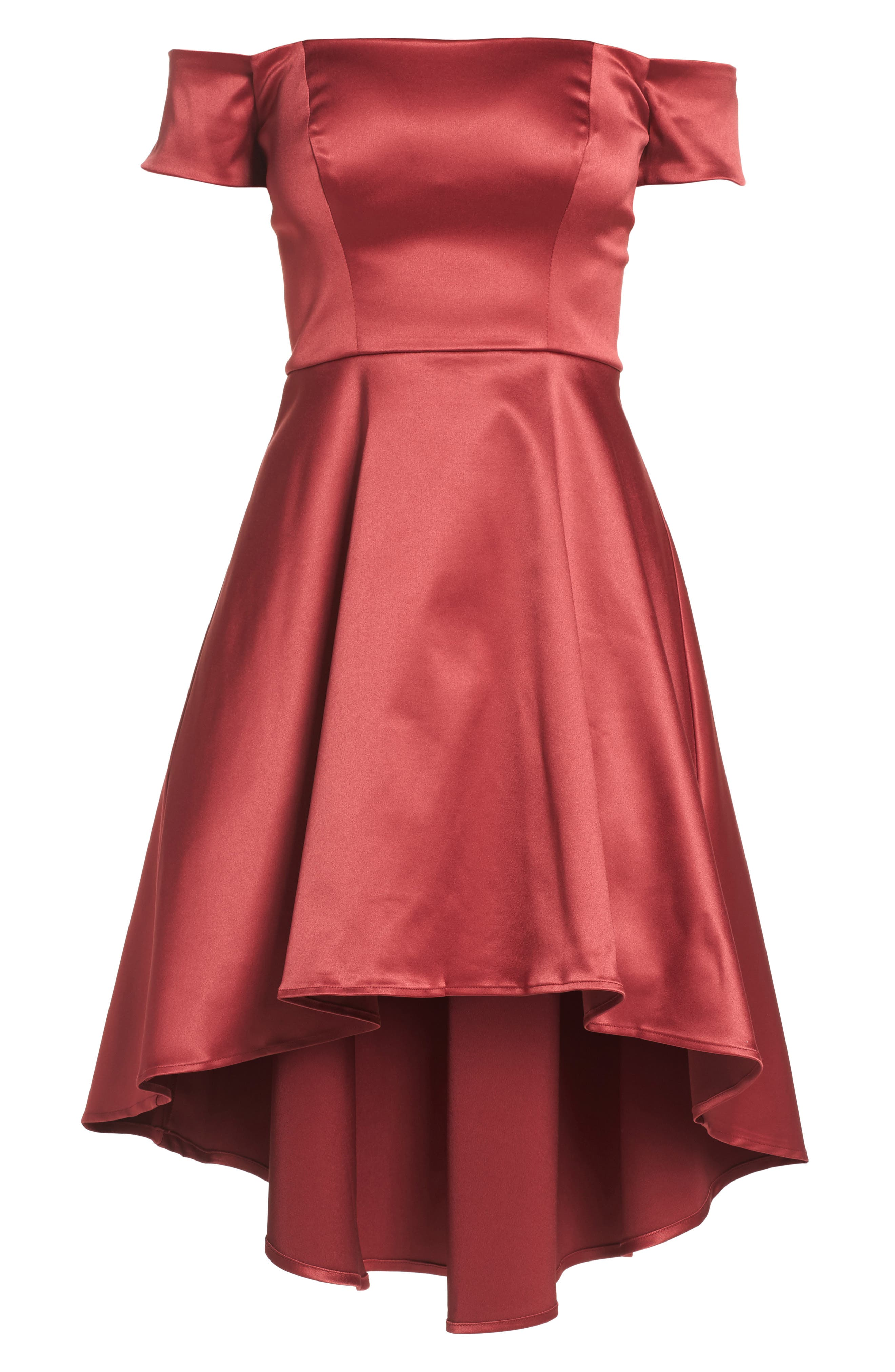 Off the Shoulder Satin Dress,                             Alternate thumbnail 6, color,                             Merlot