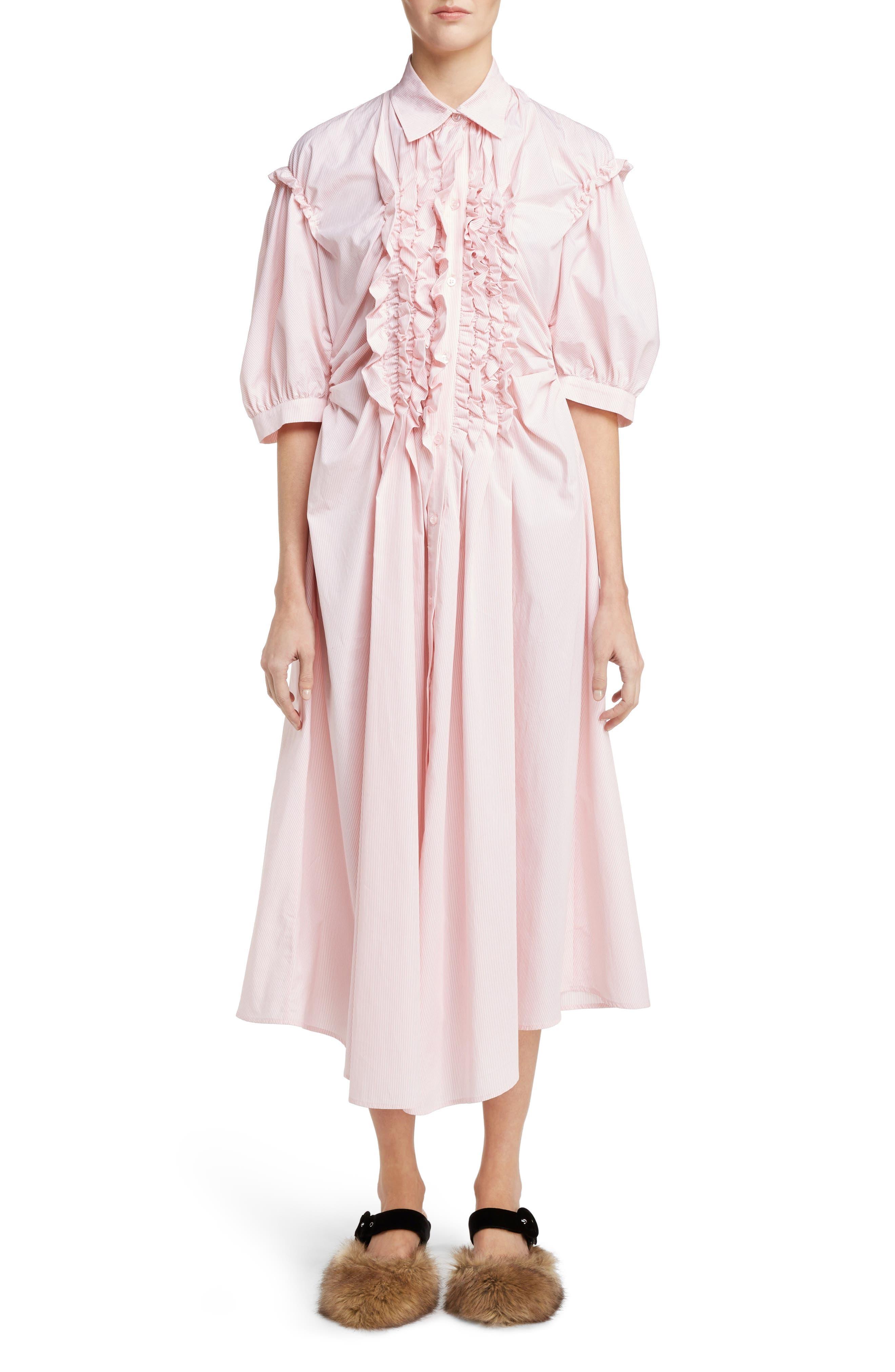 Stripe Frill Shirtdress,                         Main,                         color, Pink White