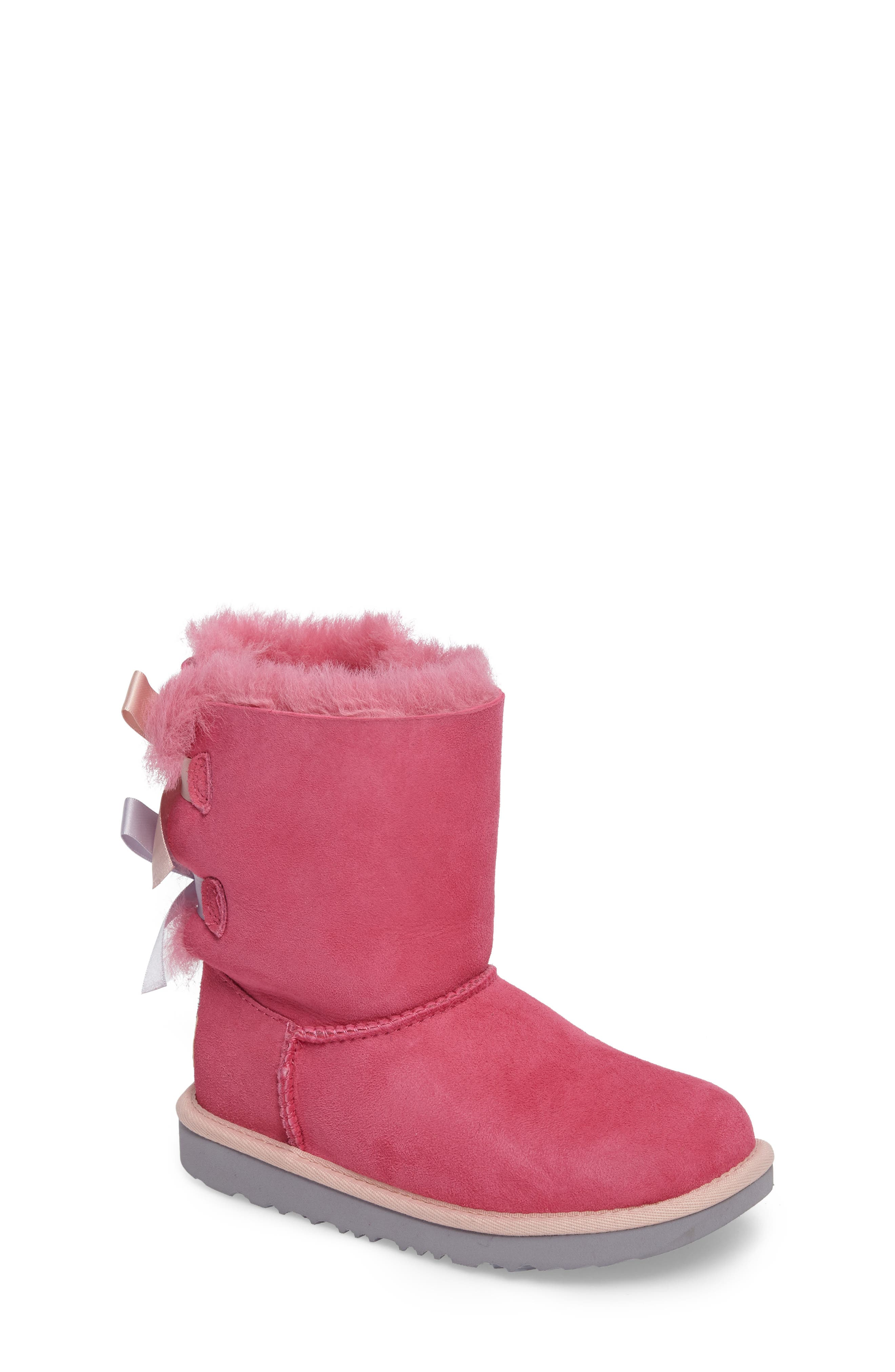 Bailey Bow II Water Resistant Genuine Shearling Boot,                             Main thumbnail 1, color,                             Pink/ Blue Suede