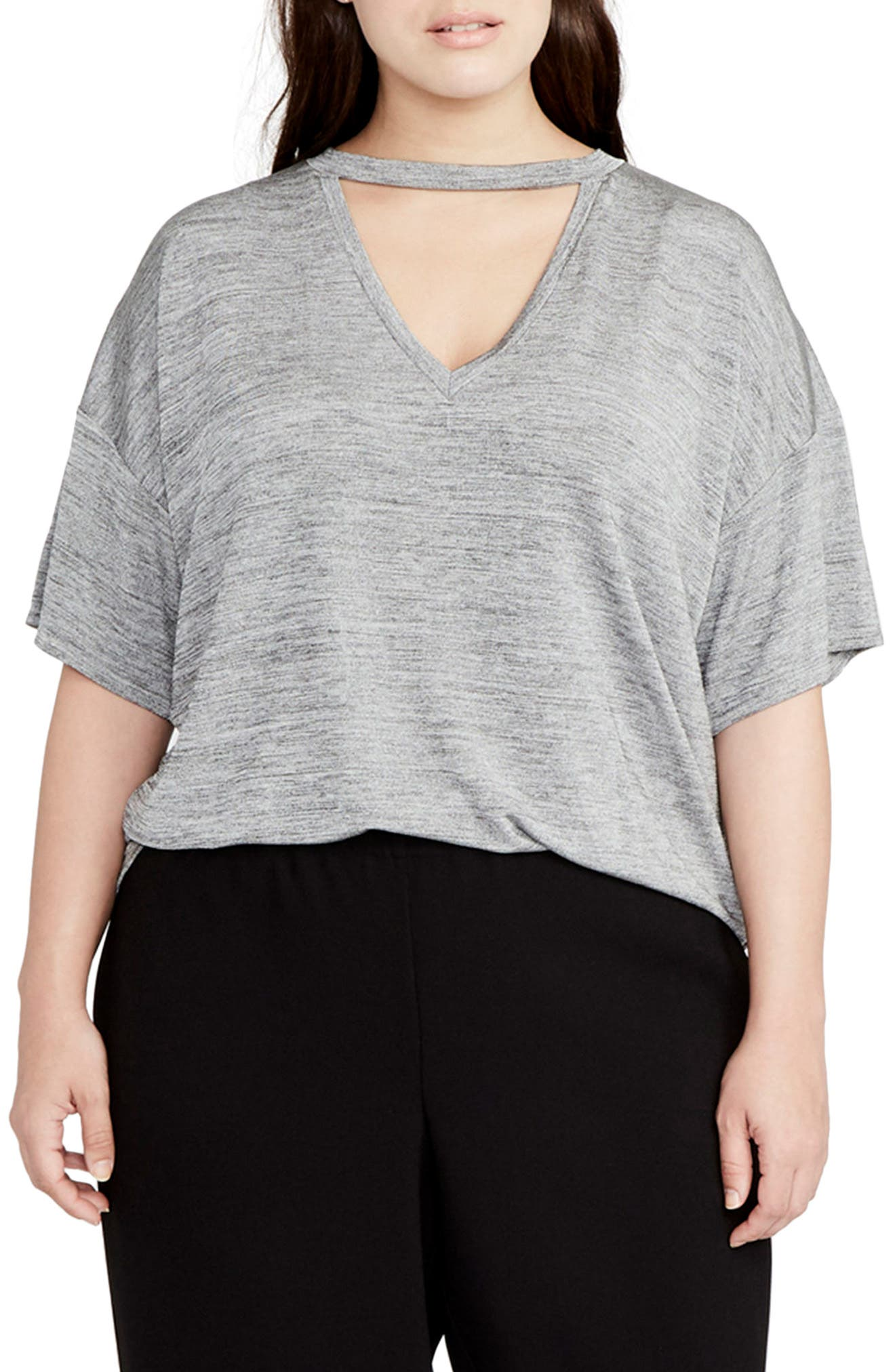 Deep V Boxy Tee,                         Main,                         color, Heather Grey