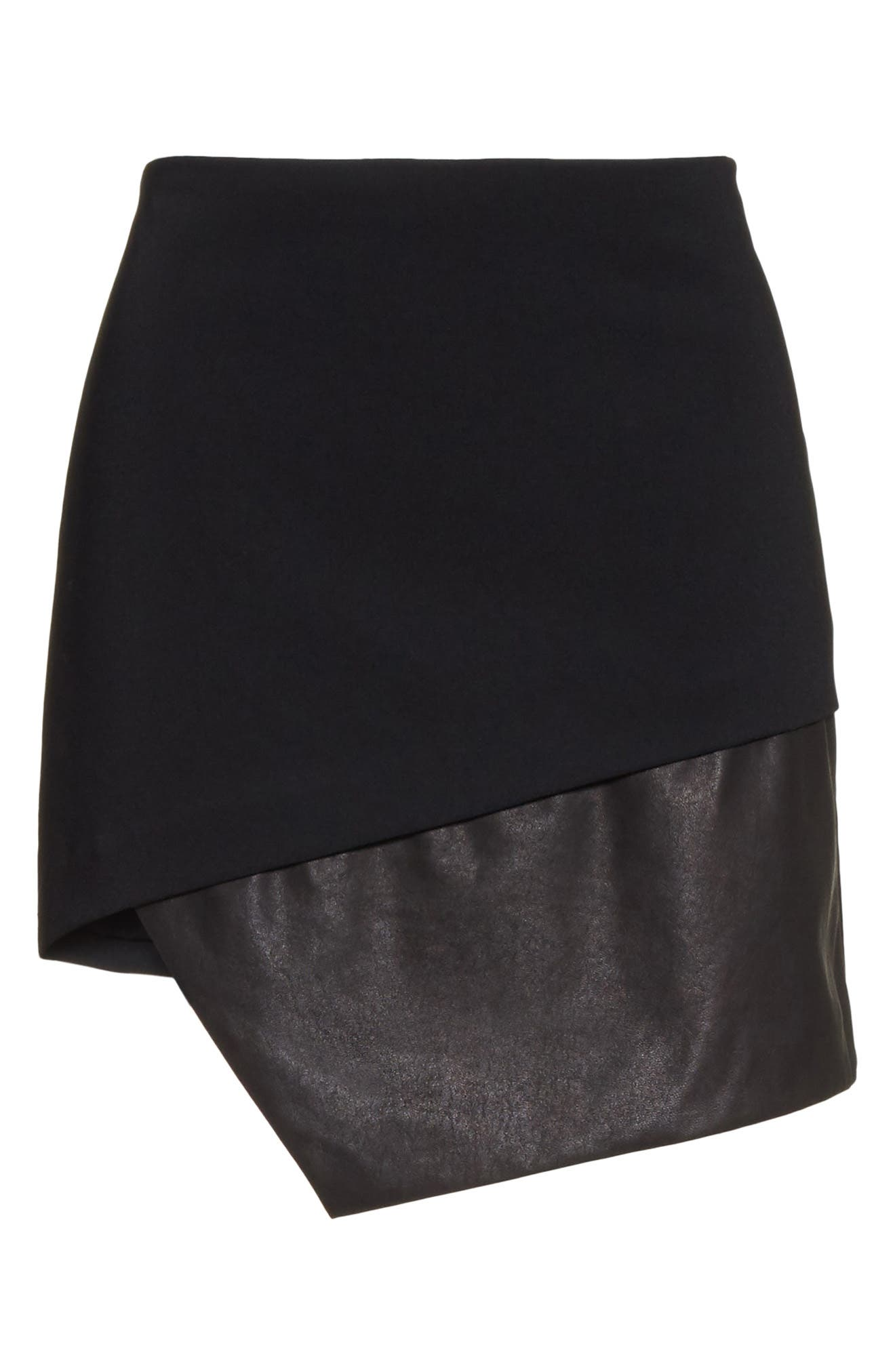 Dora Asymmetrical Miniskirt,                             Alternate thumbnail 7, color,                             Black