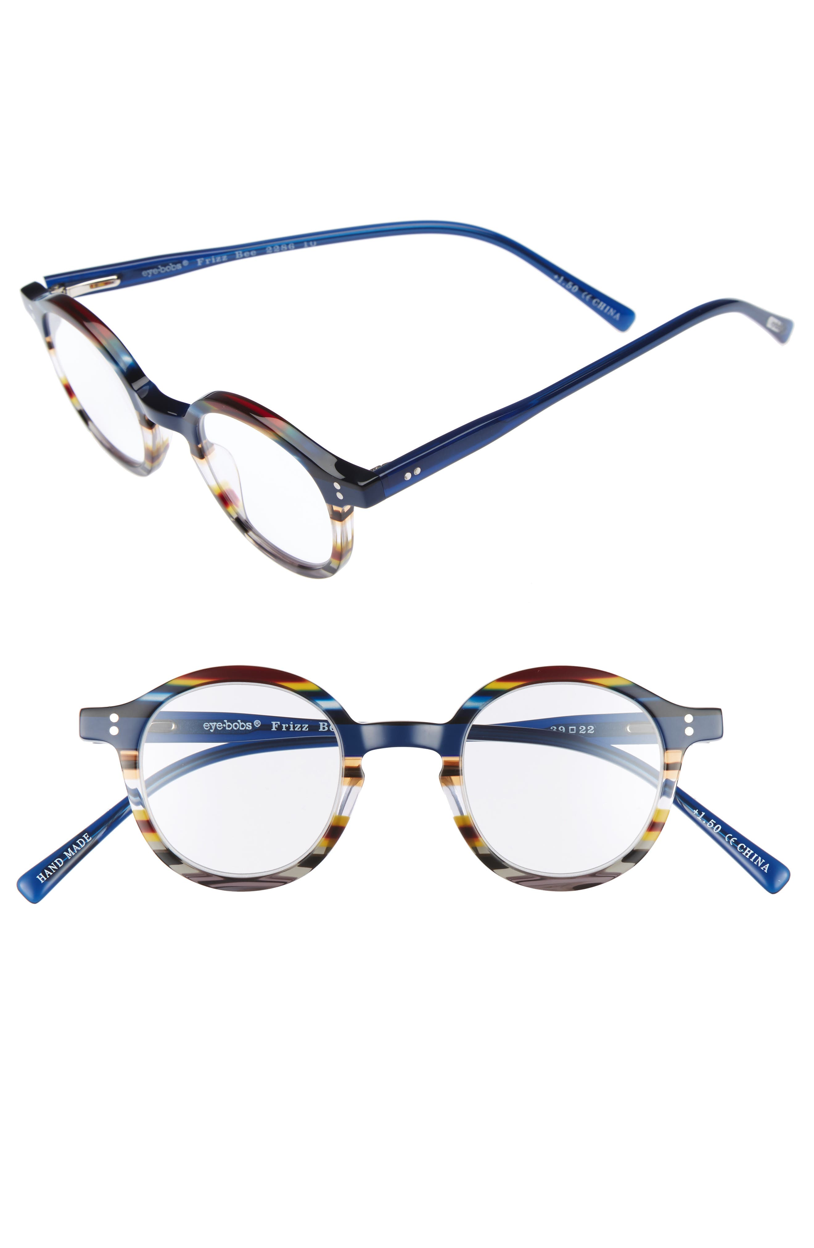 Frizz Bee 39mm Reading Glasses,                         Main,                         color, Blue