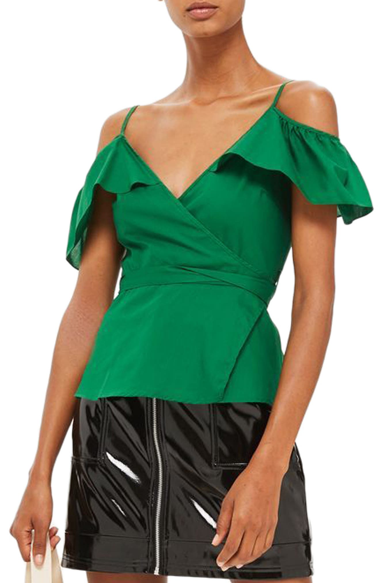 Ruffle Cold Shoulder Wrap Top,                         Main,                         color, Green