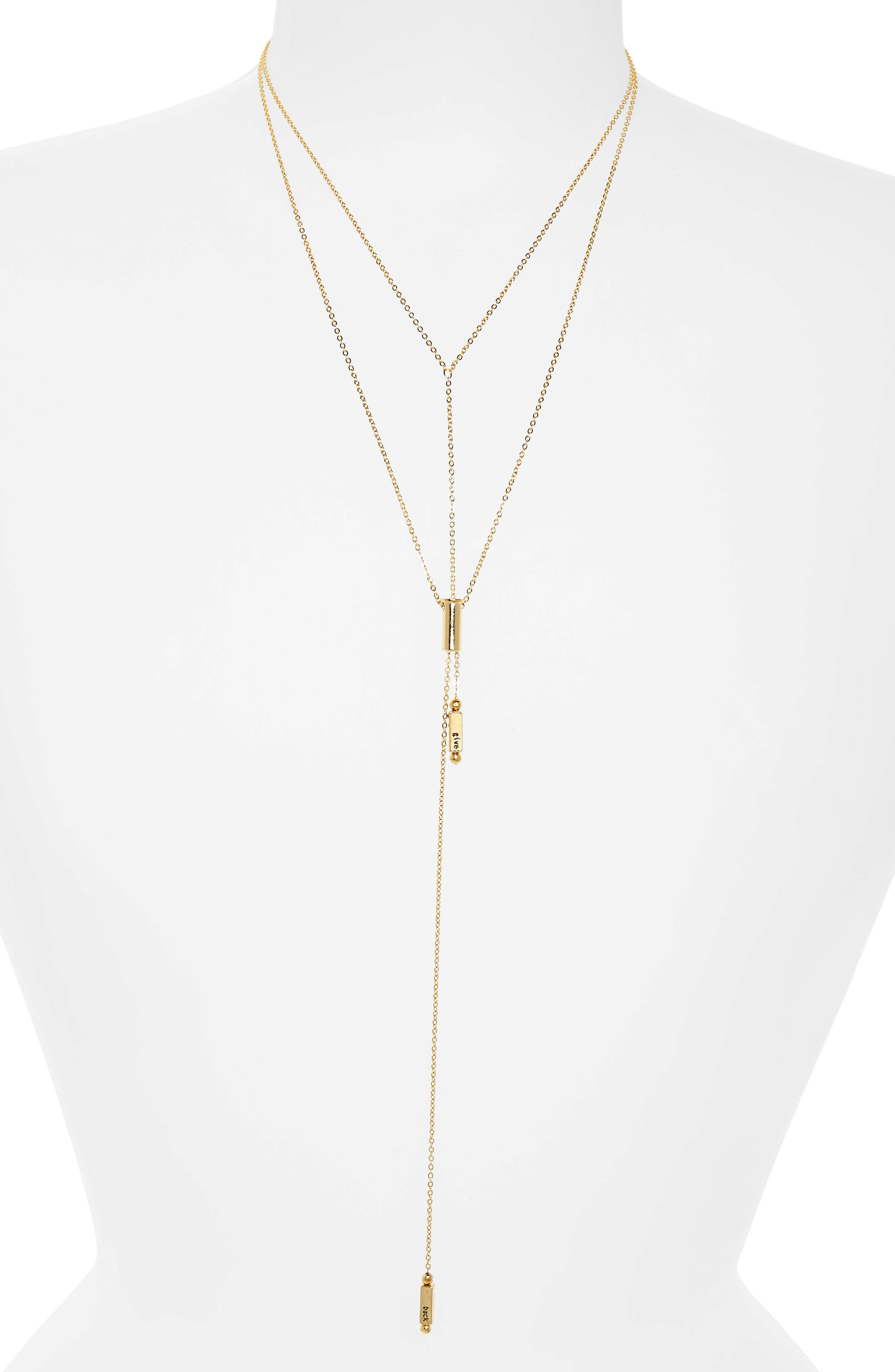 Phoebe Layered Lariat Necklace,                         Main,                         color, Gold