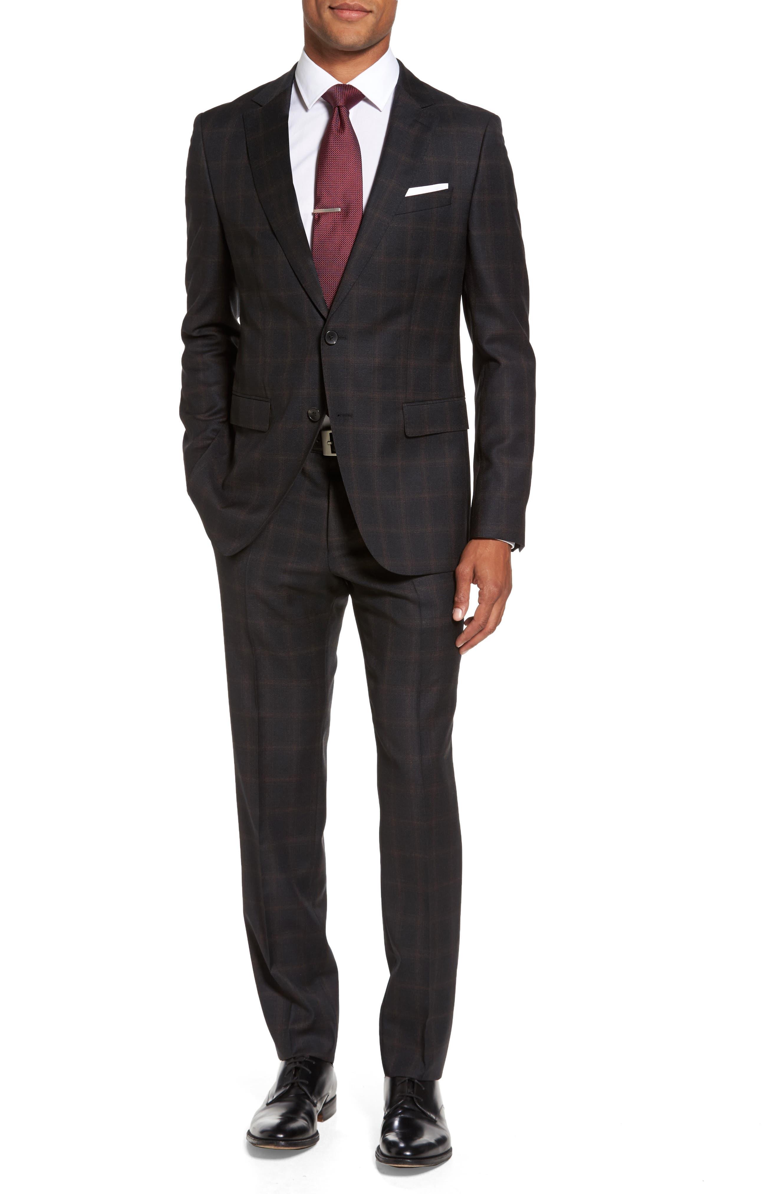 BOSS Novan/Ben Trim Fit Plaid Wool Suit