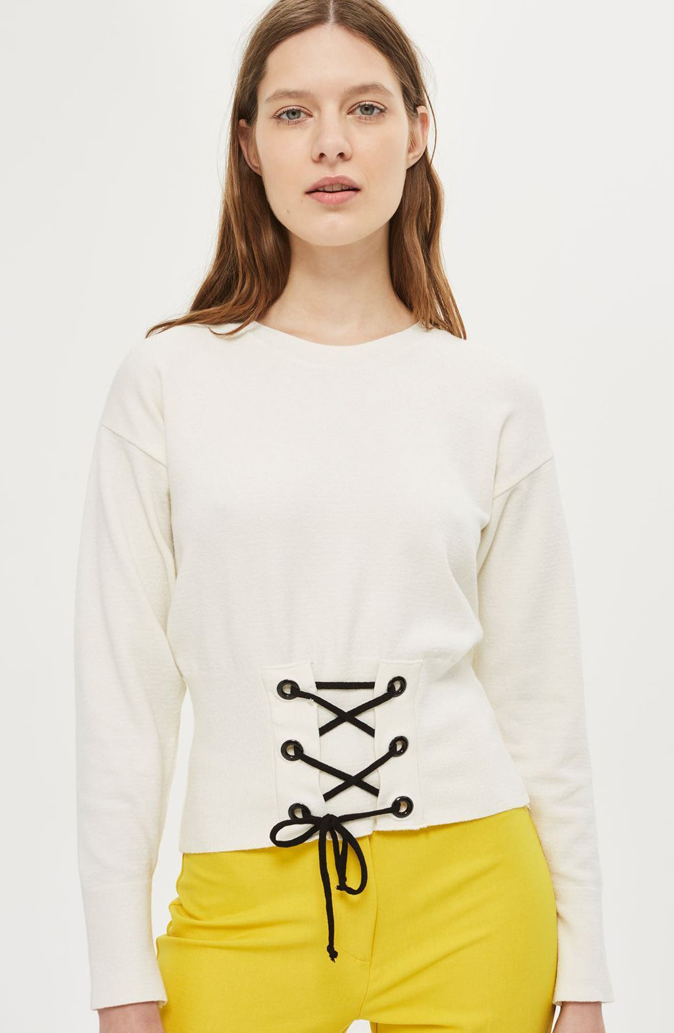Alternate Image 3  - Topshop Corset Front Sweater (Petite)