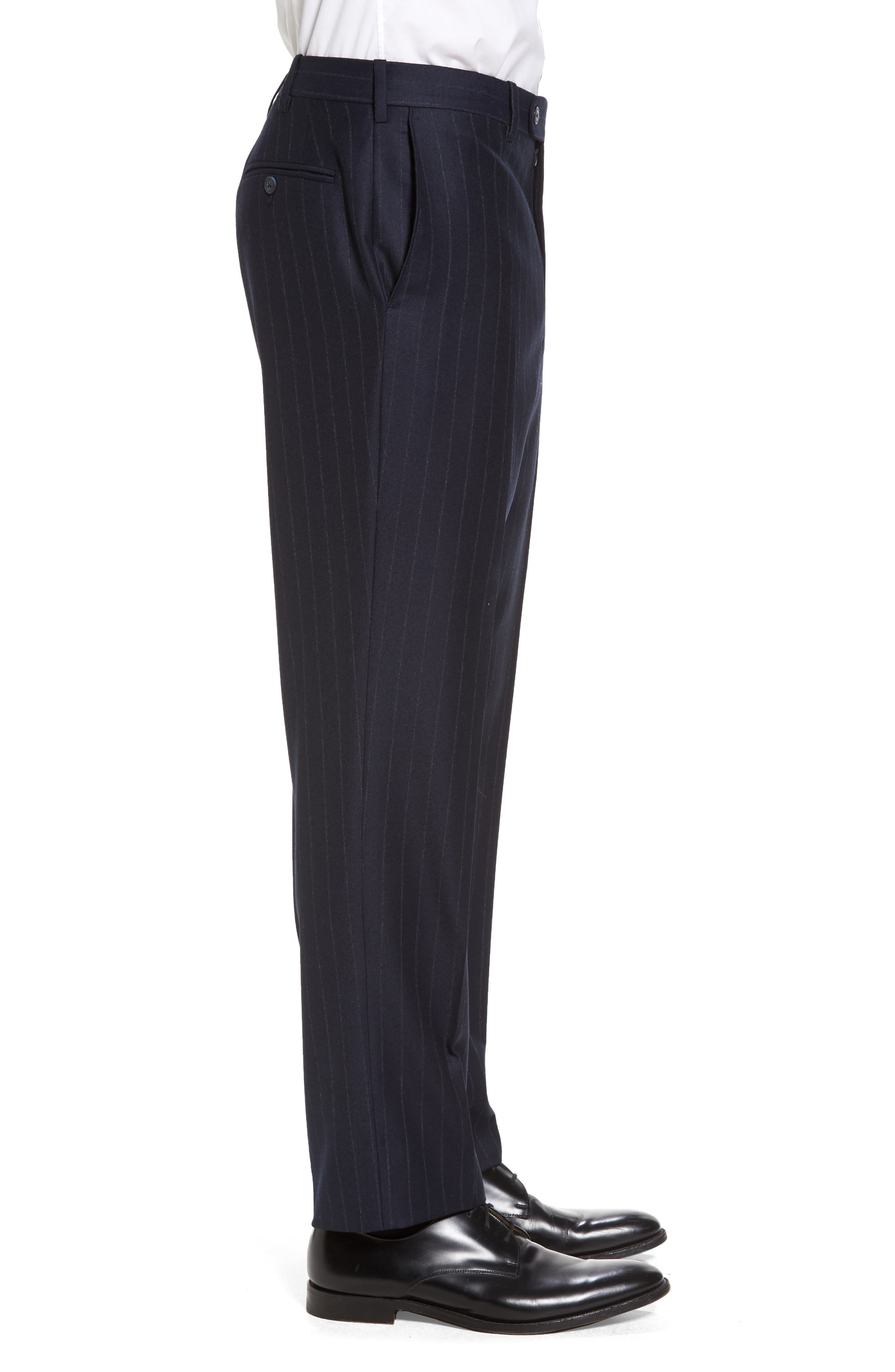 Flat Front Chalk Stripe Wool Trousers,                             Alternate thumbnail 3, color,                             Navy