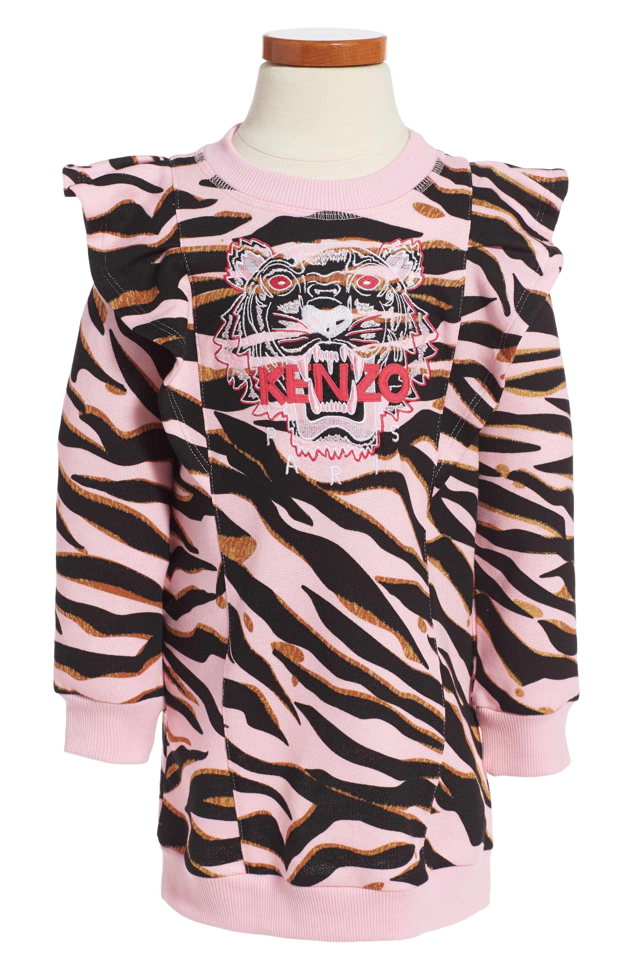 Tiger Sweatshirt Dress,                         Main,                         color, Old Pink